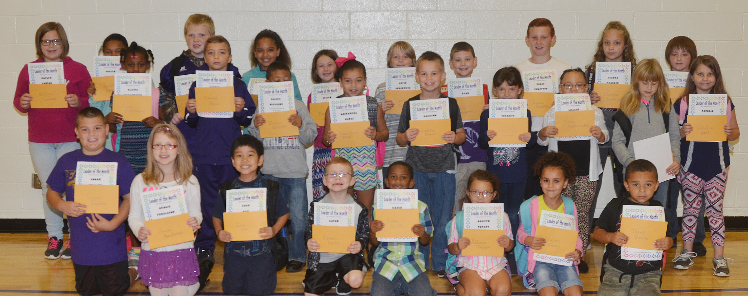 From left, front, are fifth-grader Logan England, fourth-grader Gracie Pendleton, second-grader Zach Hak, first-graders Daven Davis and Kasen Smith and kindergarteners Addisyn Taylor and Adelyn Litsey and Tyrek Moore. Second row, kindergartener Alaina Bridgewater, fourth-grader Carson Mills, first-grader Elijah Williams, second-graders Ammarissa Nunez and Jackson Bates, first-grader Serenity Jones, kindergartener Lillian Merriweather, second-grader Summer Daniels and third-grader Natalia West. Back, fifth-graders Kaylyn Lawson, Jaclyn Jackson and Simon Wilkerson, fourth-grader Aleecia Knezevic, third-grader Evelyn Stancill, fourth-grader Devin Underwood, third-graders Ryan Tungate and Reece Swafford and fifth-graders Deanna Reardon and Kanan Bruce.