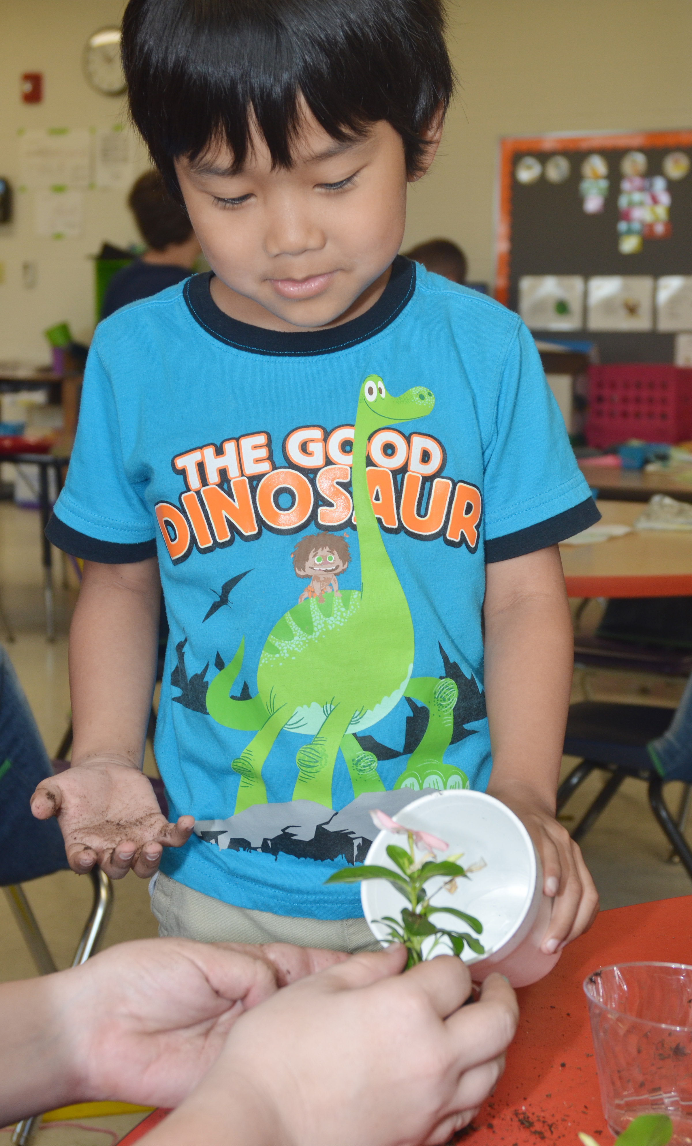CES first-grader Zach Hak waters the flower he planted for his mother.
