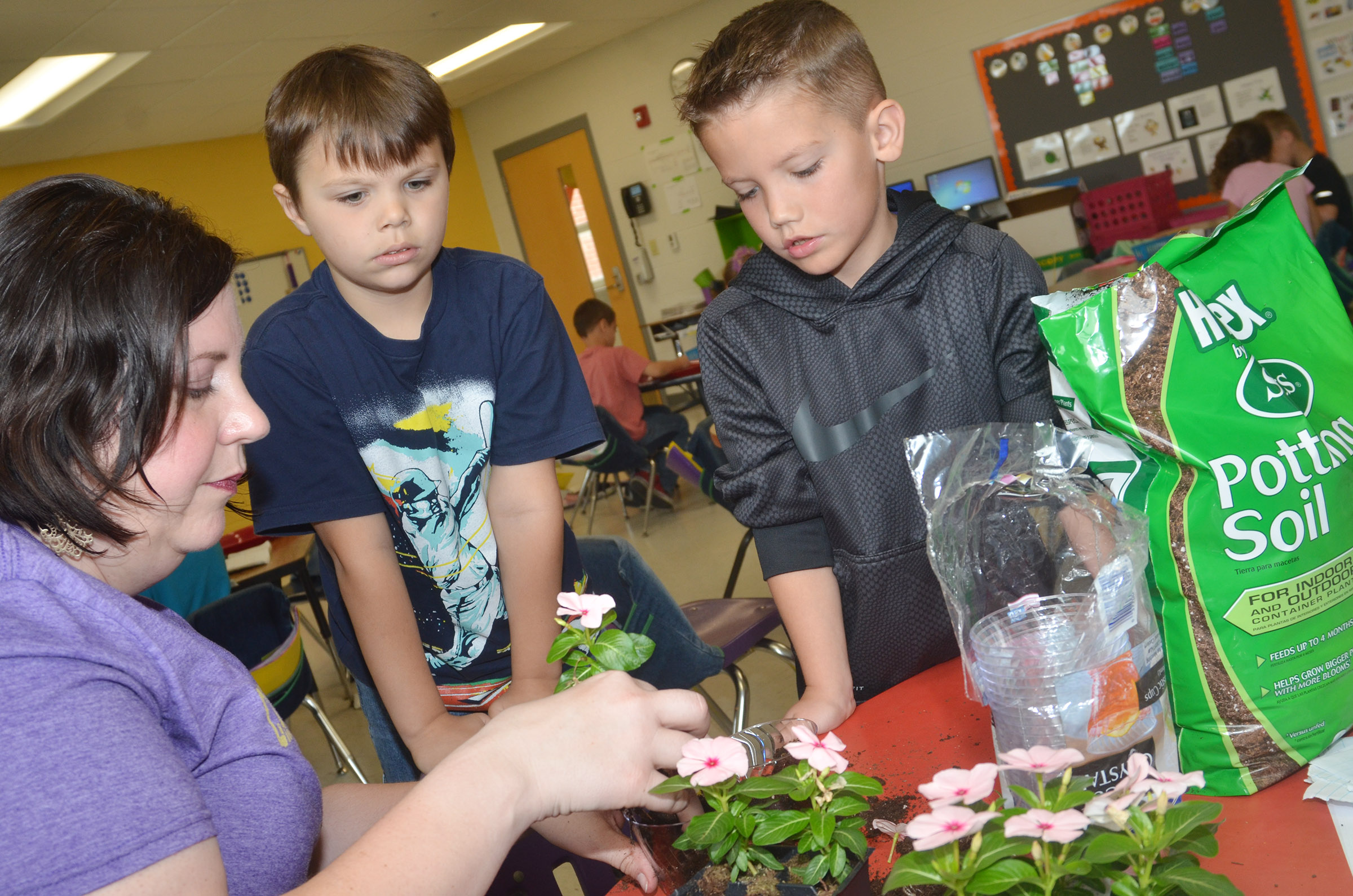 CES first-grade teacher Lisa Mardis helps students Jaxson Hunt, at left, and Owen Skaggs plant flowers for their mothers.