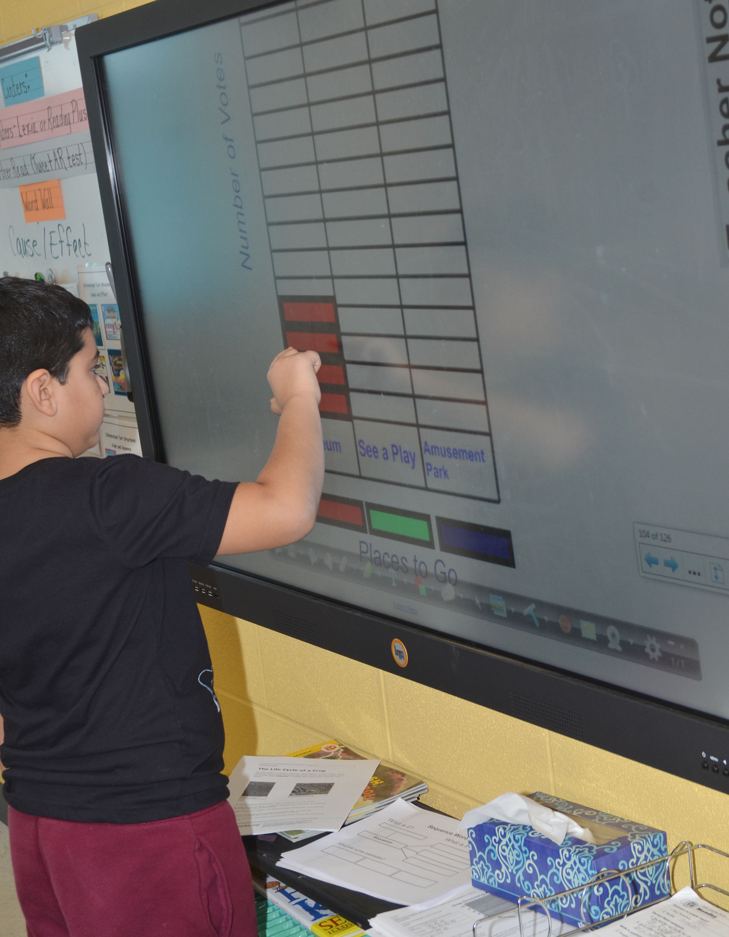CES third-grader Cody Tamez adds how many students want to go to a museum on the class's bar graph.
