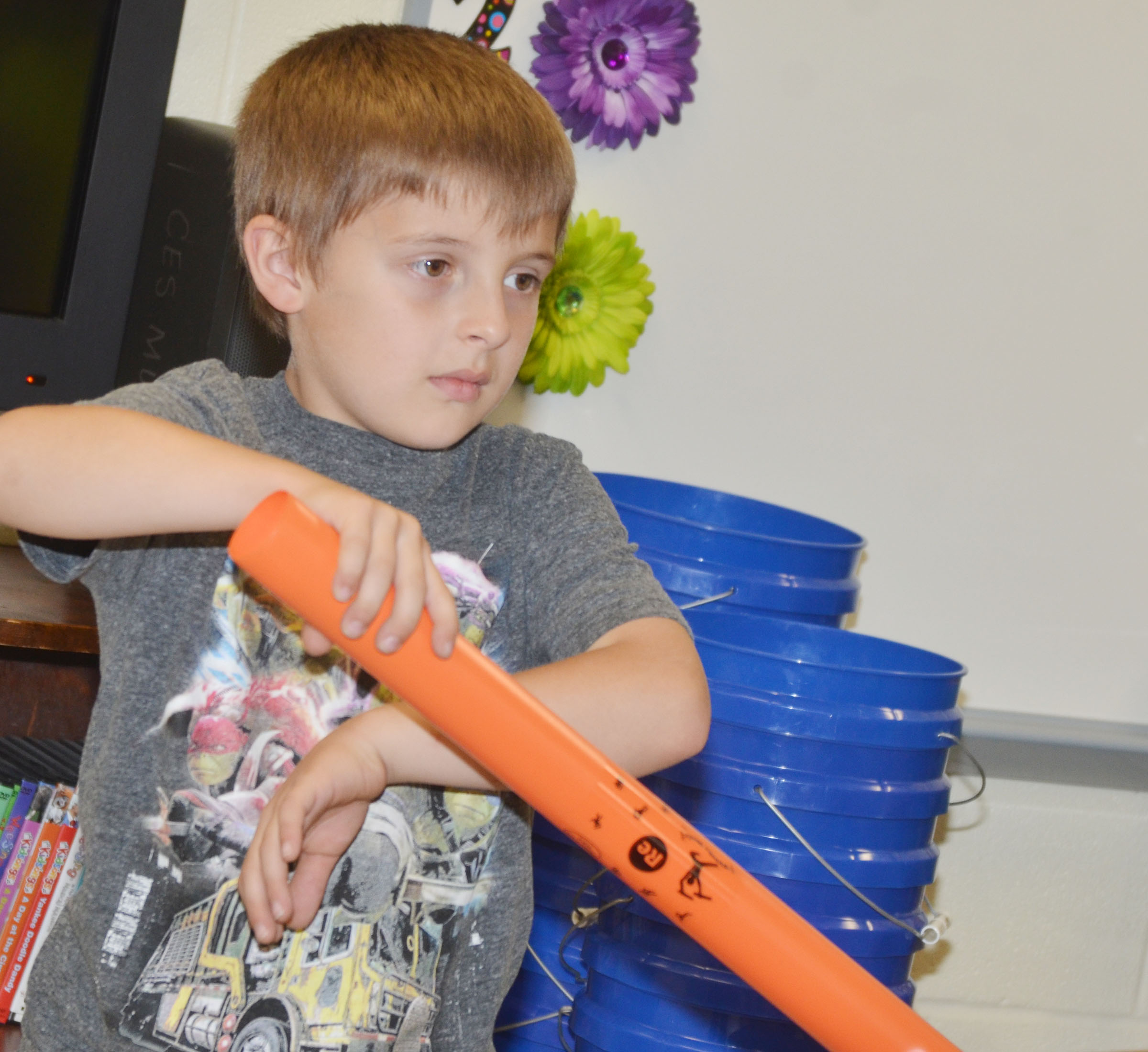 CES kindergartener Ayden Andrew plays the boom whacker.