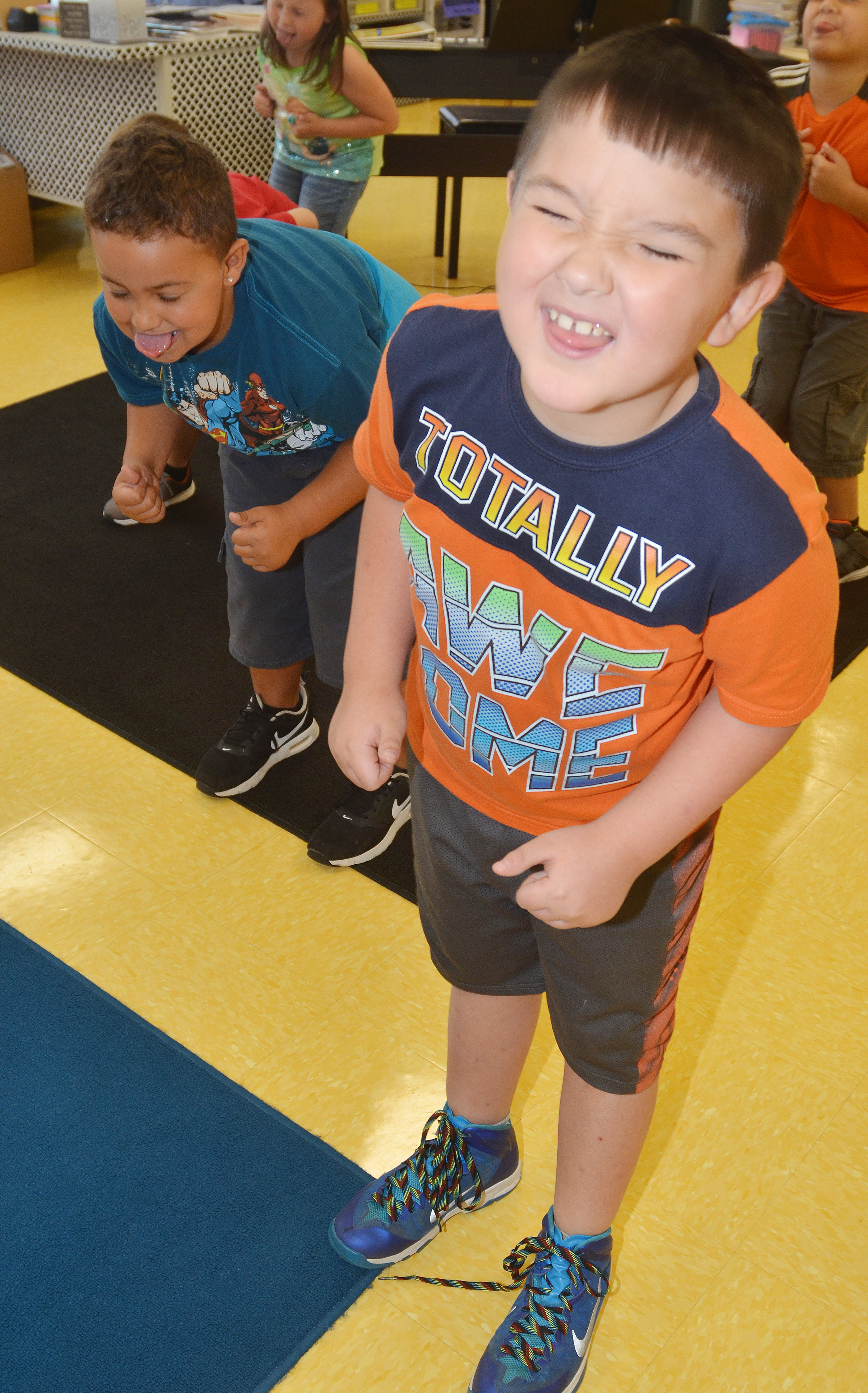 "CES second-grader Braxton Giles-Osinger dances to ""A Tooty Tay."""