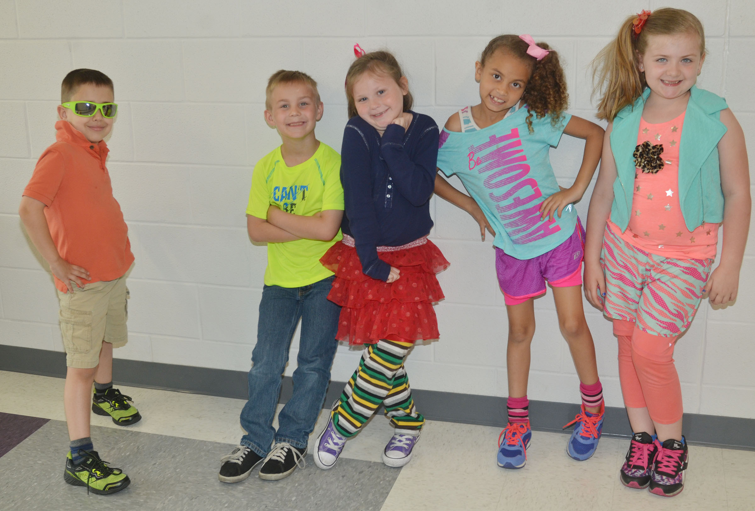 CES students dress for 1980s Day.