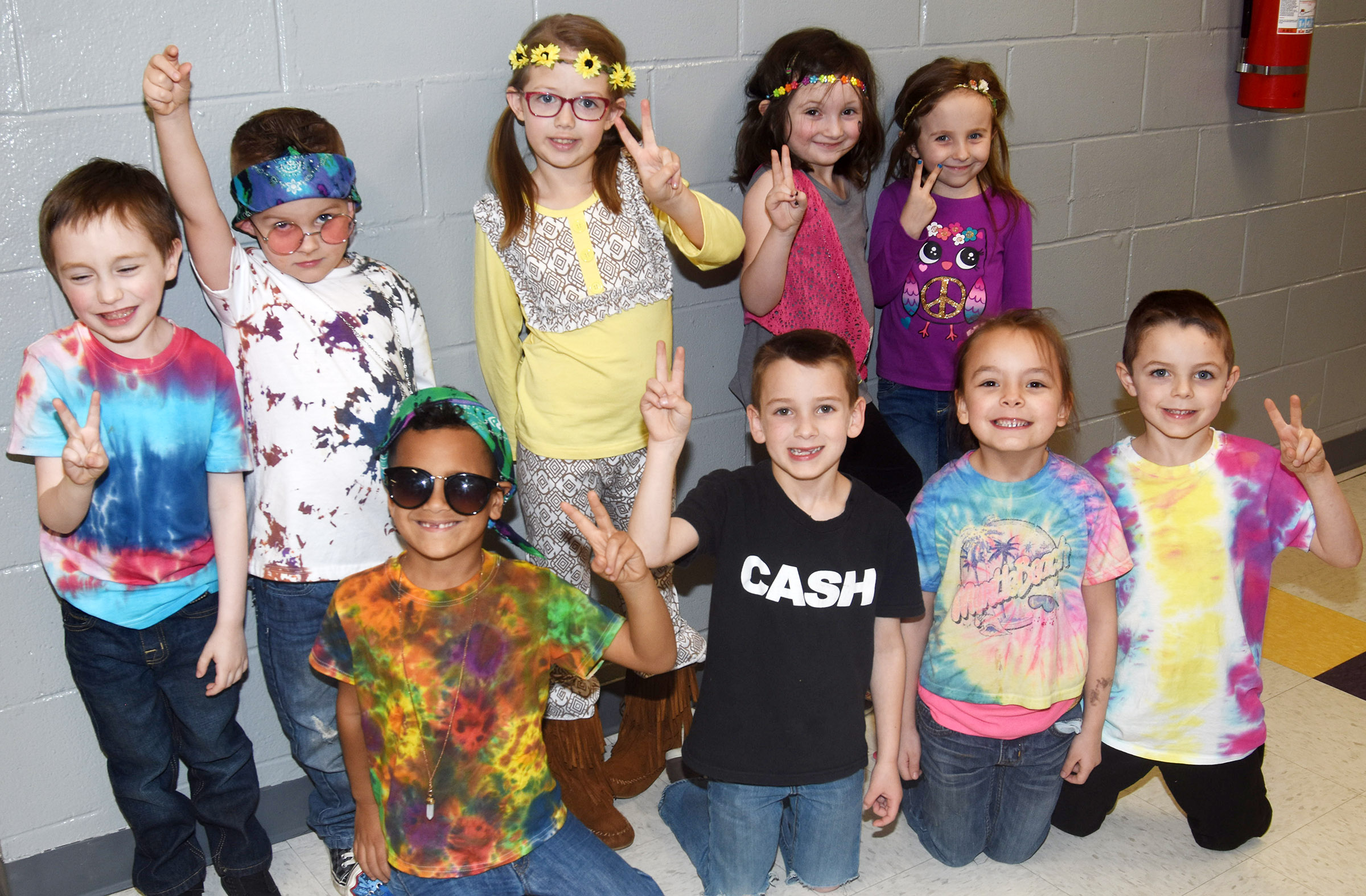 CES students dress for 1960s and 1970s Day.