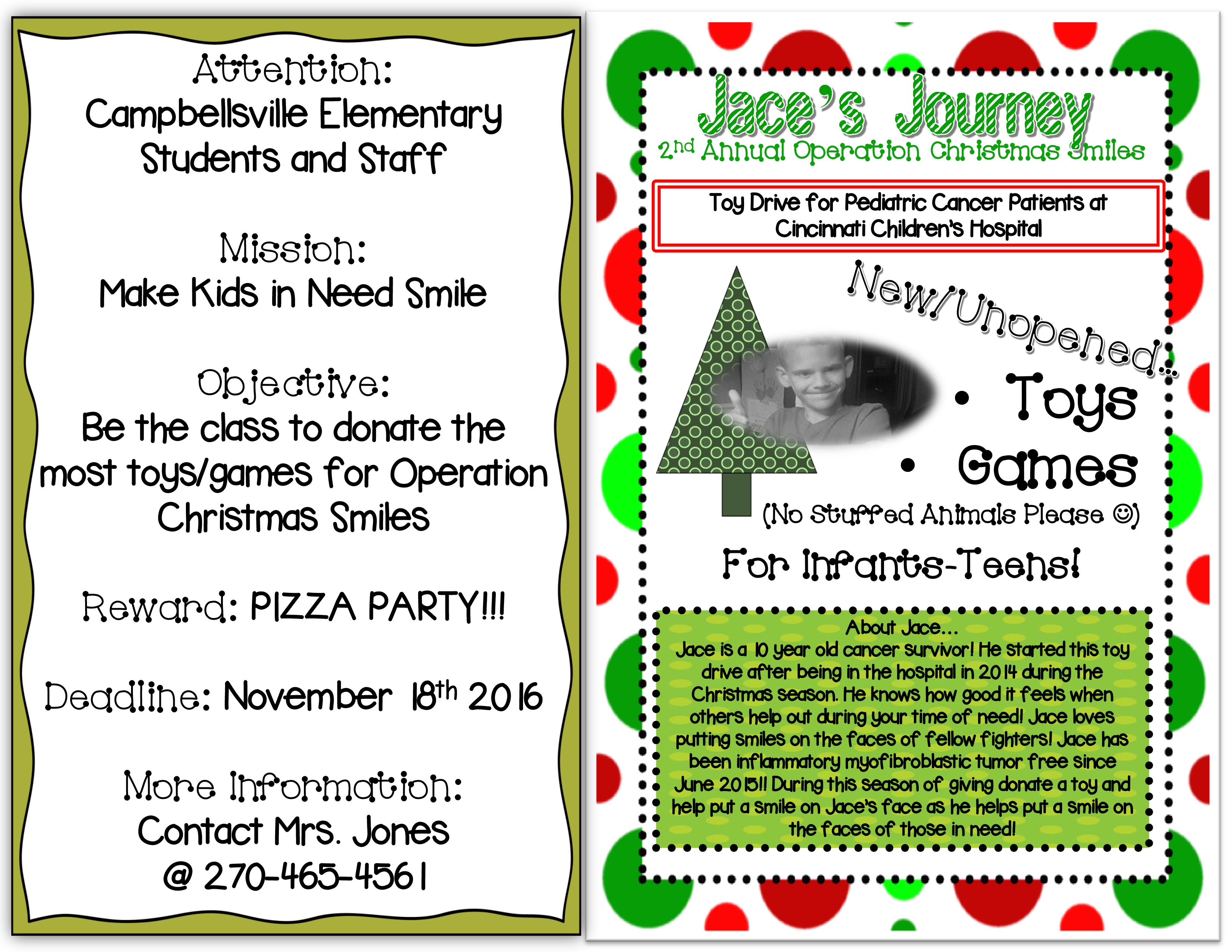 Campbellsville Elementary School students are participating in a toy drive challenge to benefit hospitalized children.  CES students have been challenged to bring as many new and unopened toys and games as possible to school. The items will be donated to Operation Christmas Smiles.