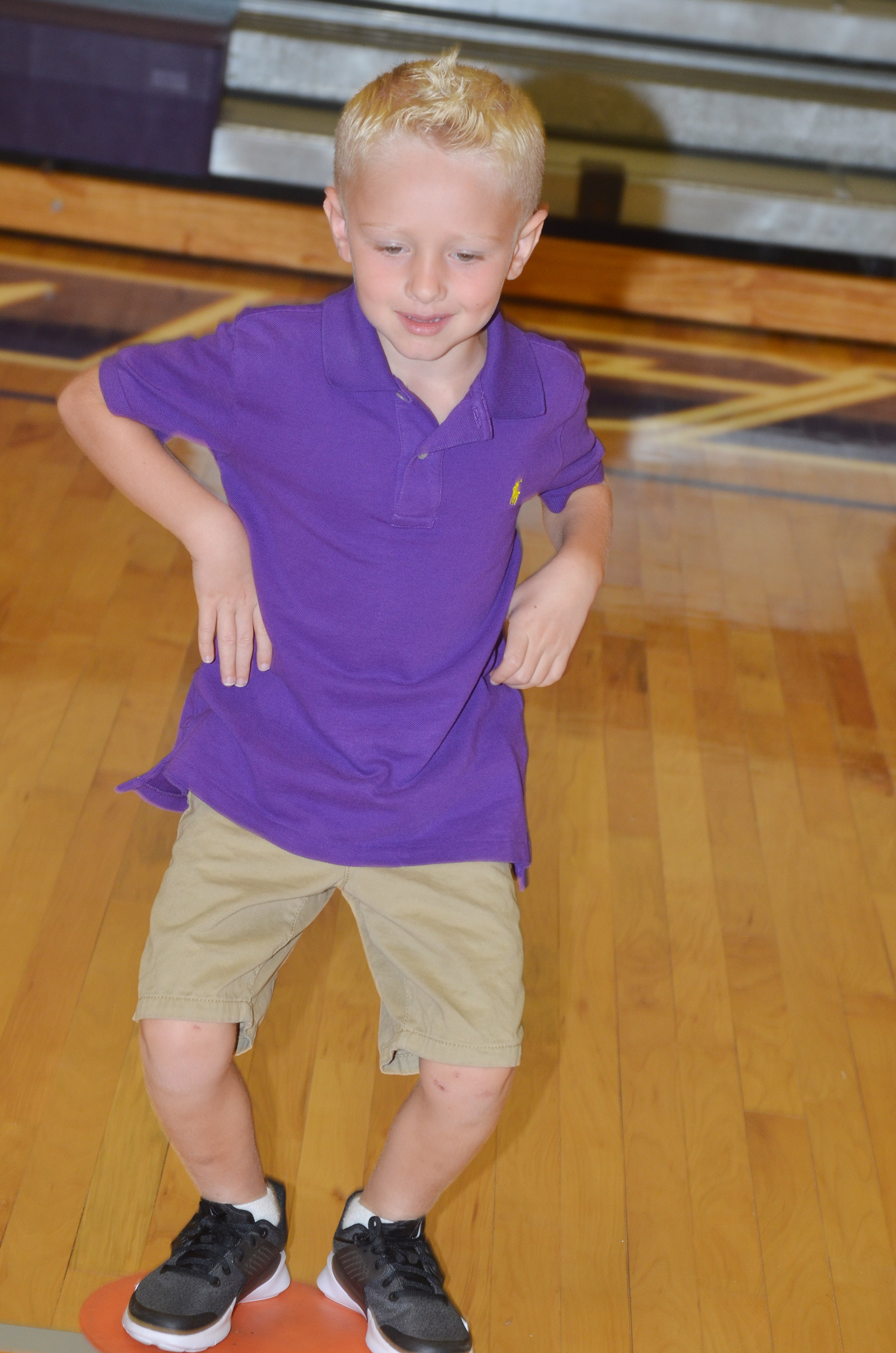CES first-grader Jackson Wright exercises.