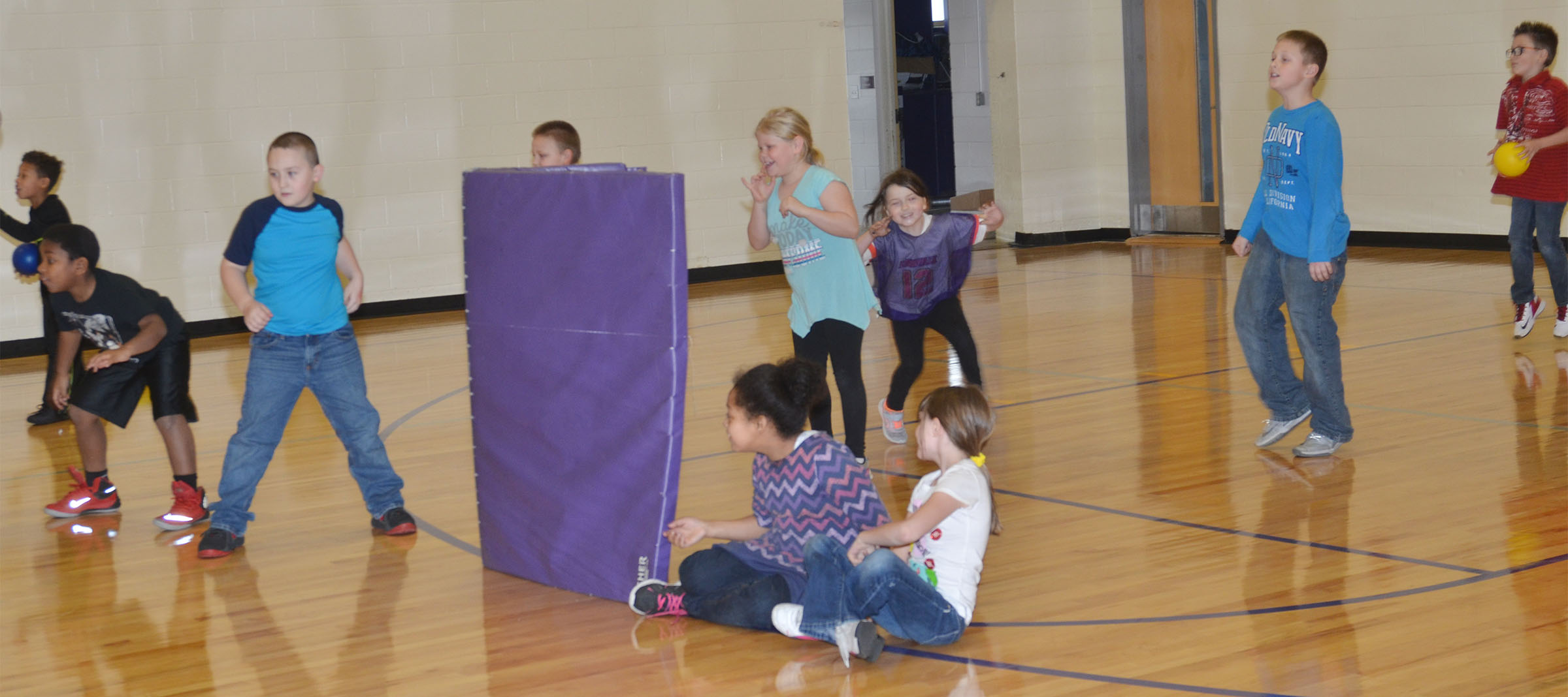 CES second-graders battle it out in a dodgeball game.