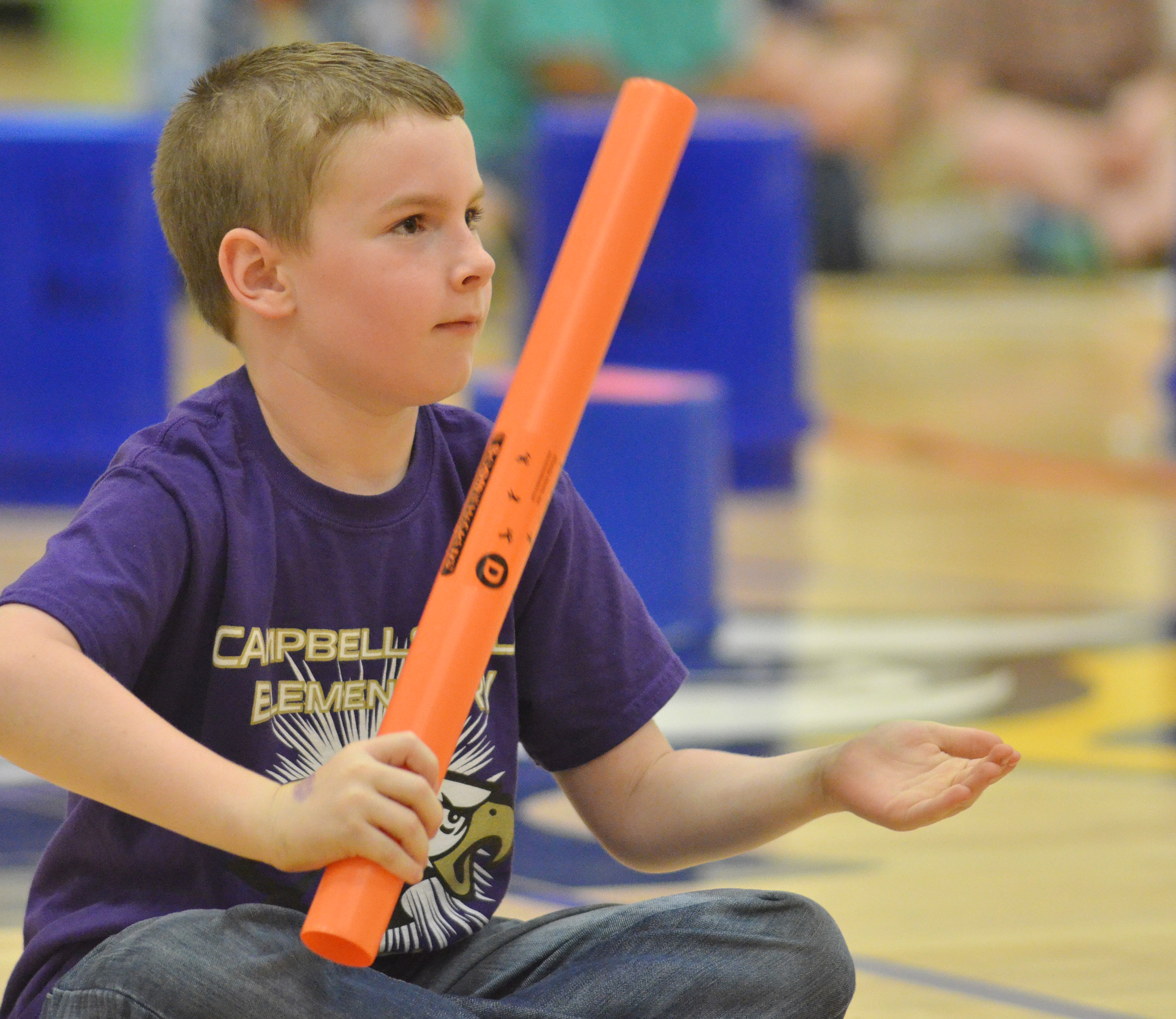 CES second-grader Stephen Green plays the boomwhacker.