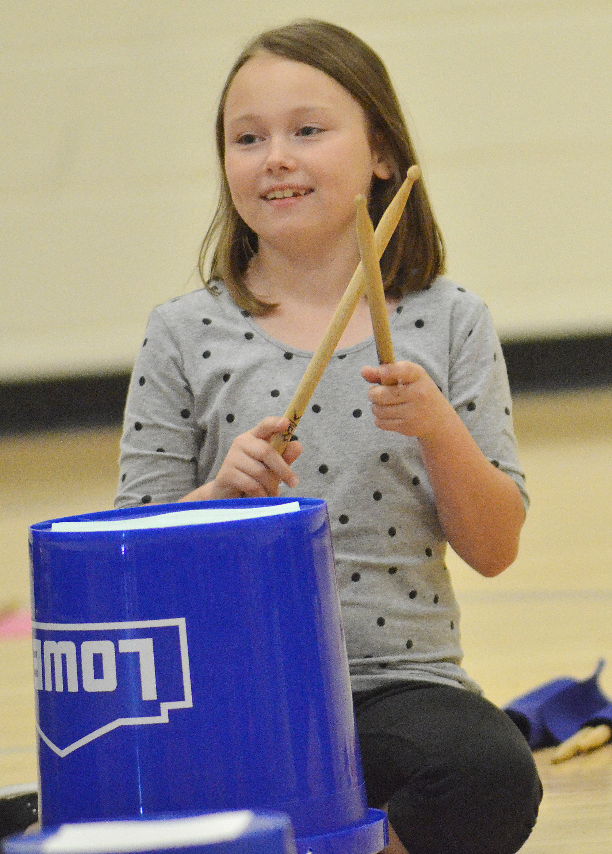 CES second-grader River McFarland keeps a beat.