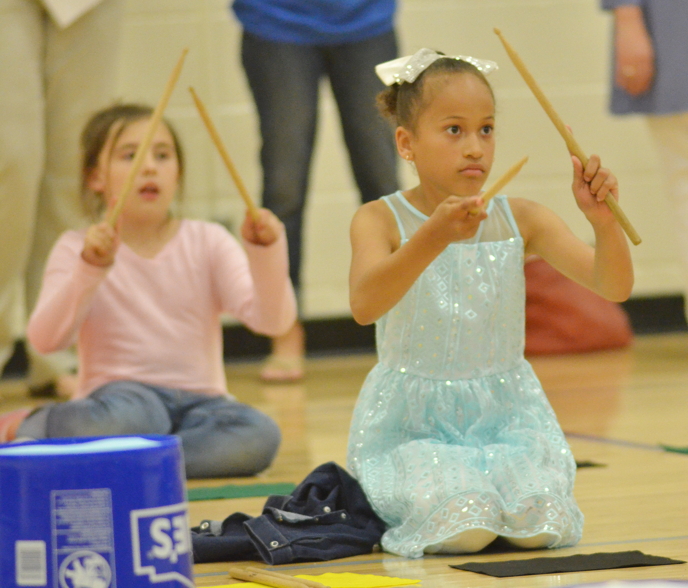 CES second-grader Yazlyn Sutton keeps the rhythm.