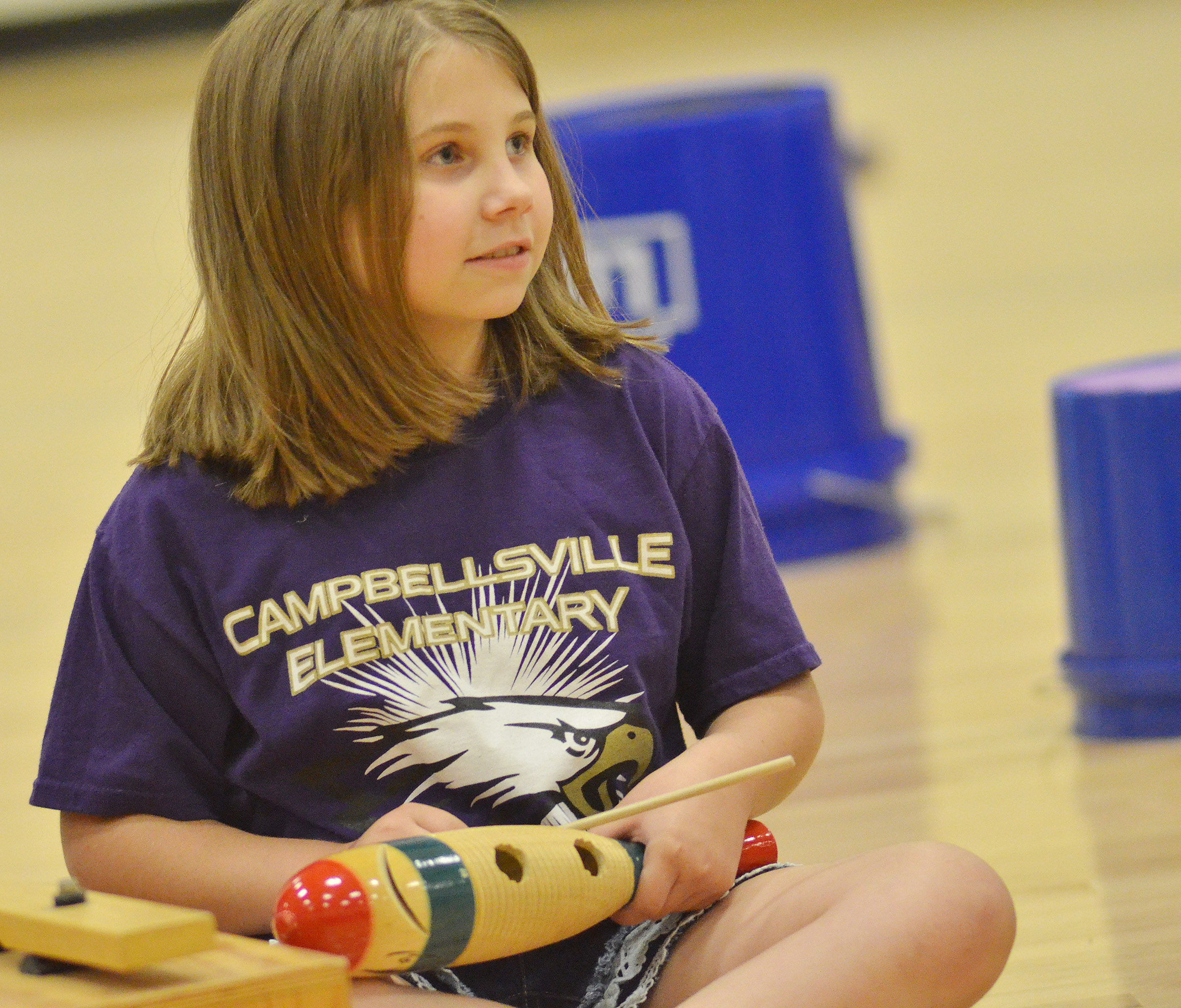 CES second-grader Natalia West waits for her cue.