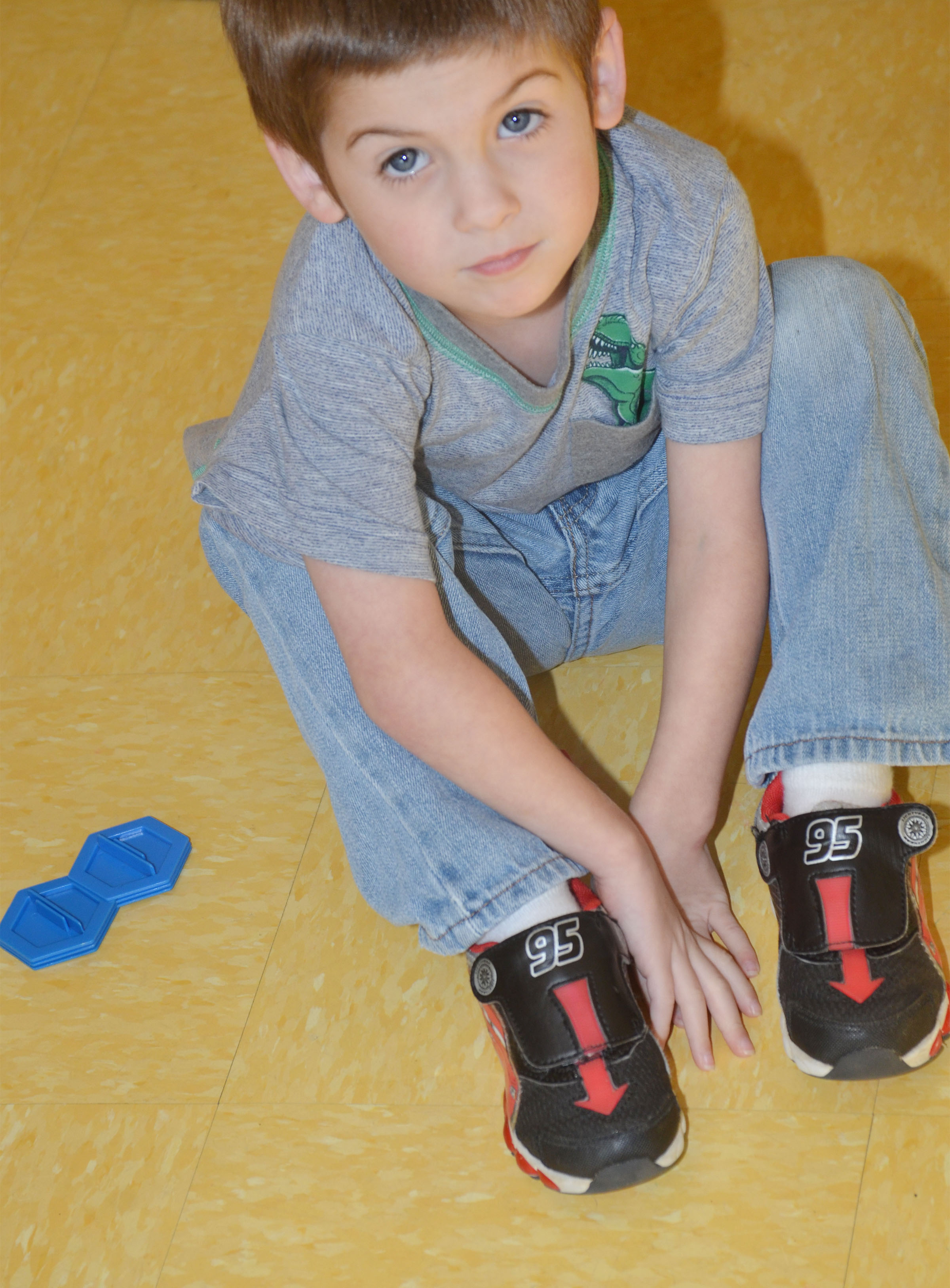 CES preschool student Charlie Woodbury has fun building.