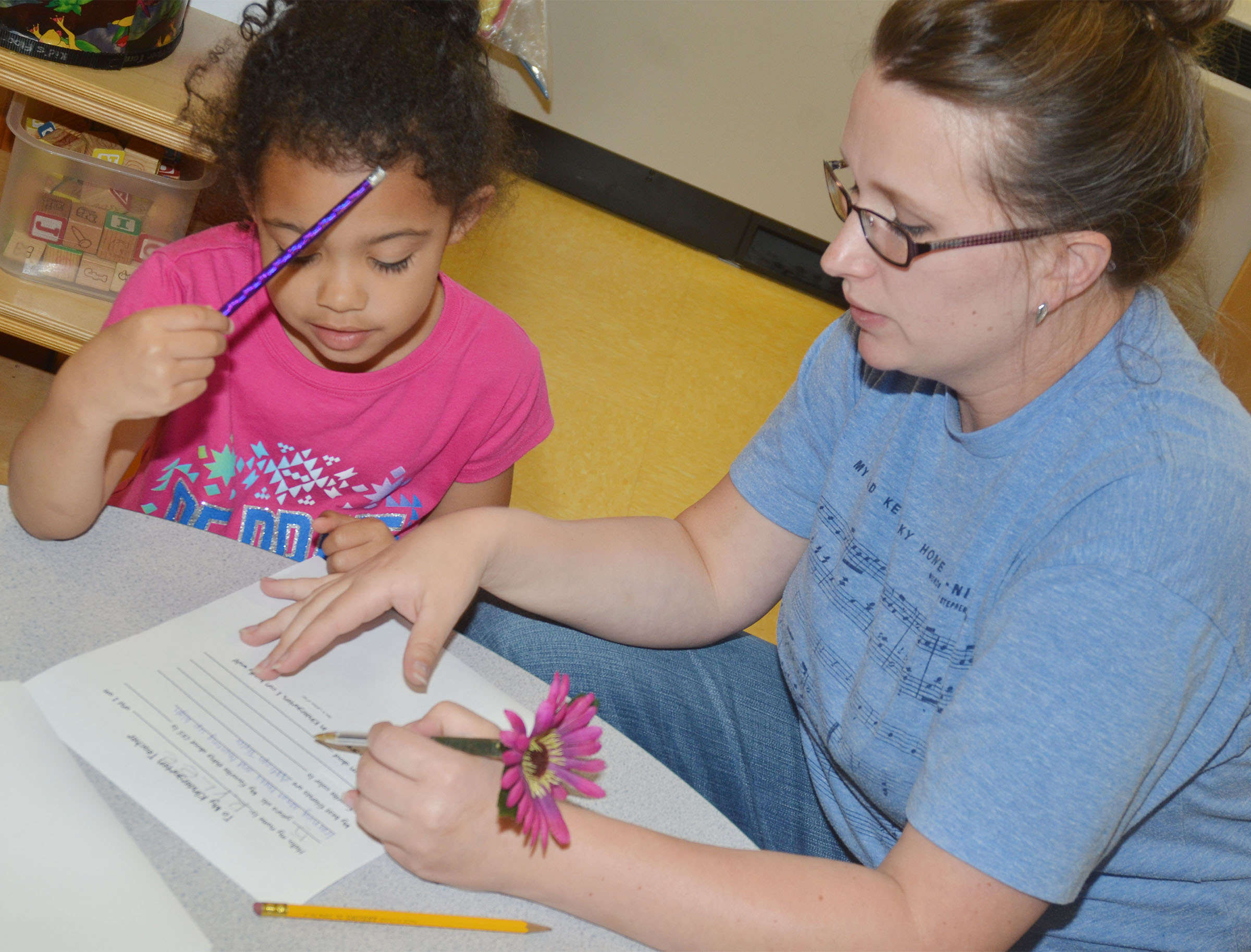 CES preschool student Rylee Karr answers questions with preschool assistant Jessica Williams as they write Karr's letter to her kindergarten teacher.