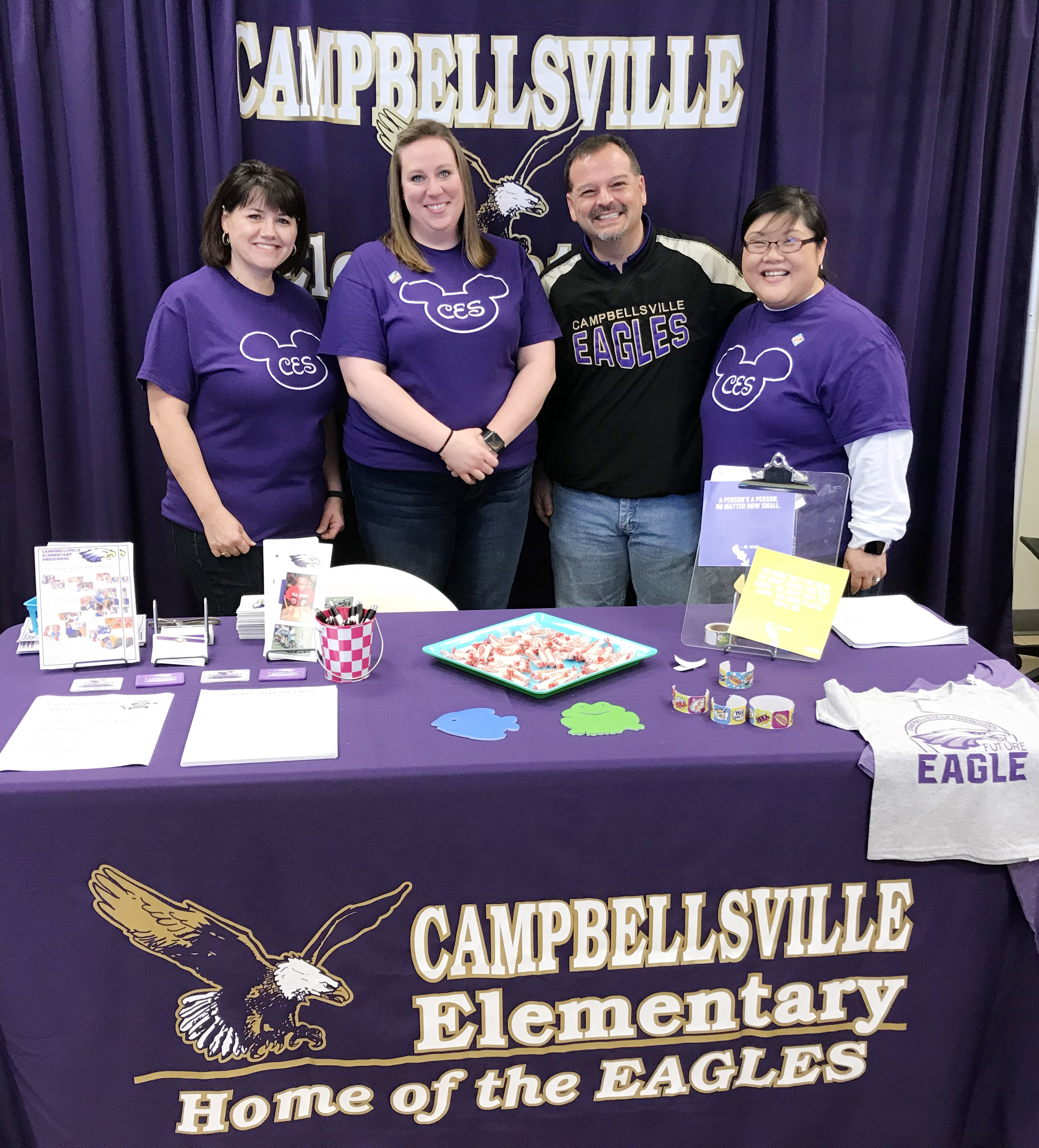 From left, CES preschool teachers Denise Spencer and Julie Shelton, Director Ricky Hunt and assistant Brittany Johnson attend Preschool Palooza.