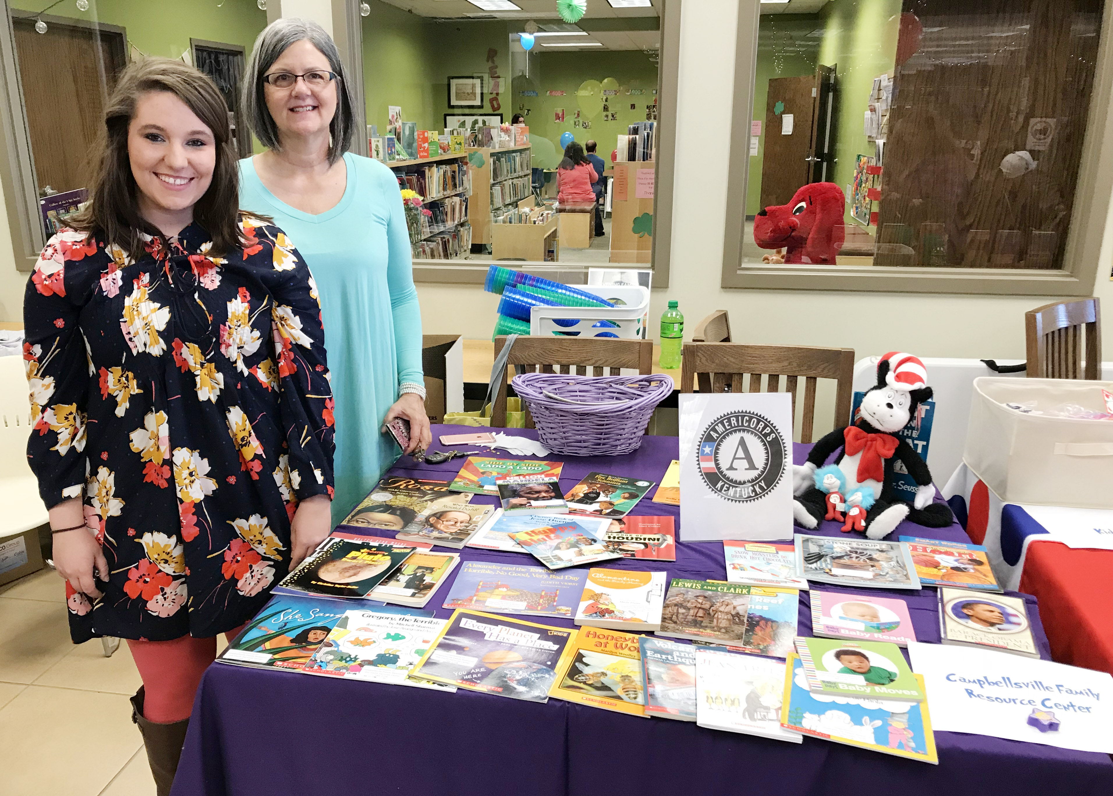 Campbellsville Family and Resource Youth Services Center Director Sue Crabtree, at right, and Campbellsville Middle School FRYSC Corp tutor Ashleigh Lewis attend Preschool Palooza.
