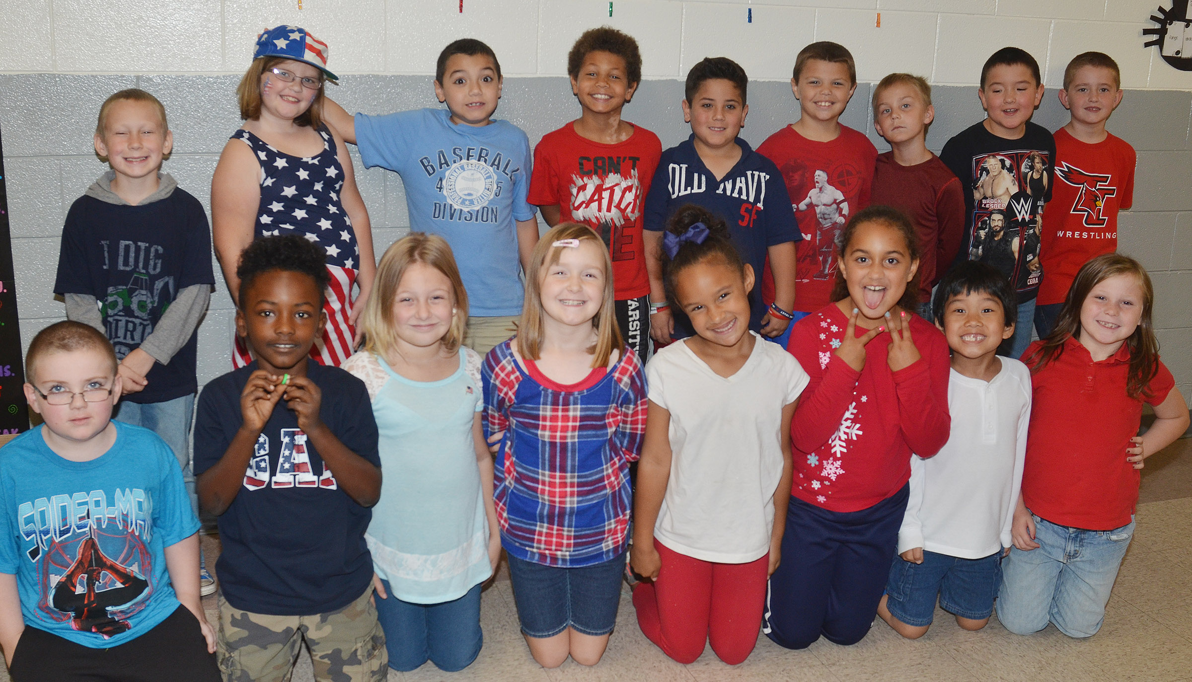 CES students dress in red, white and blue for Drug Free America Day.