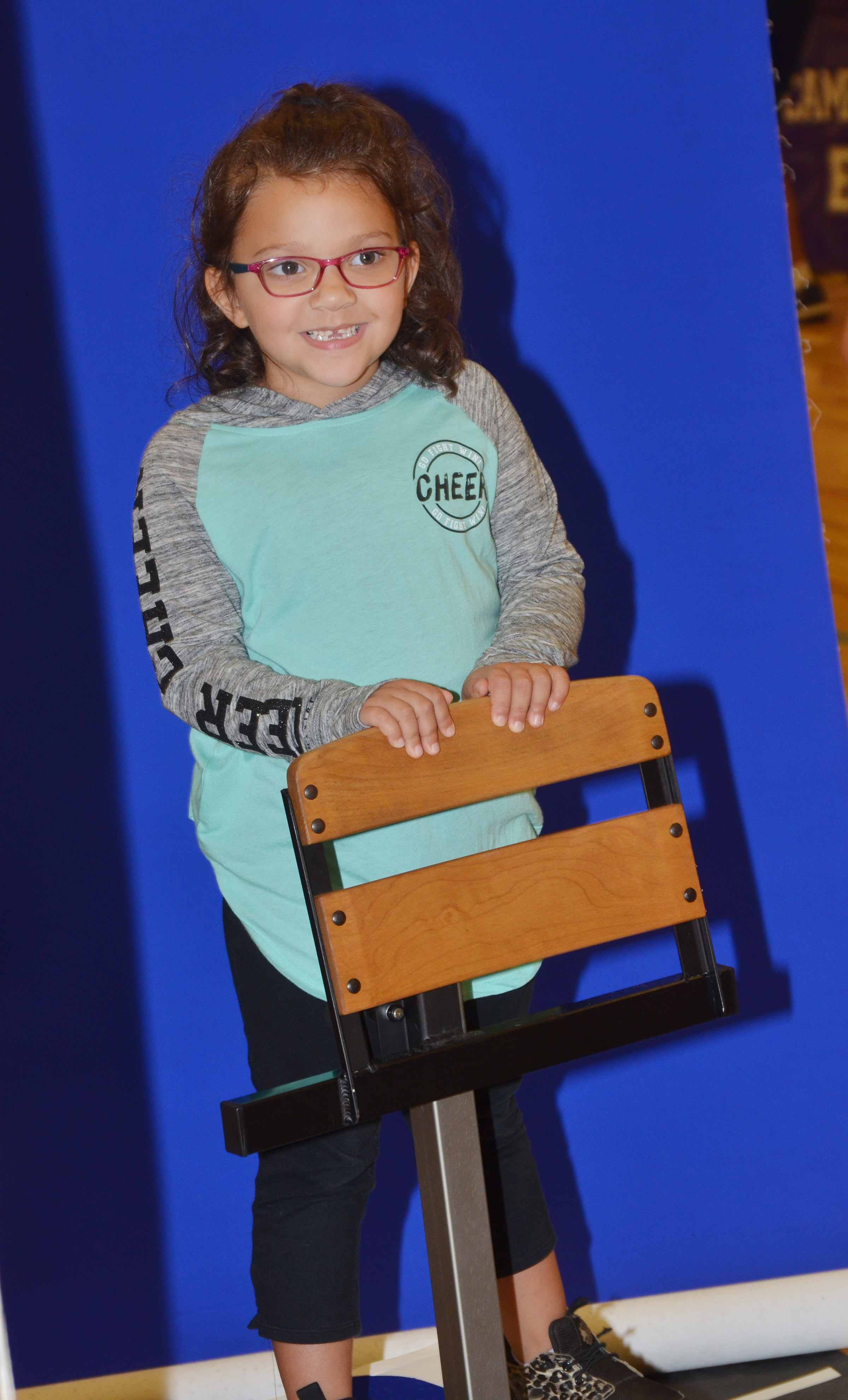CES kindergartener Addisyn Taylor smiles for the camera.