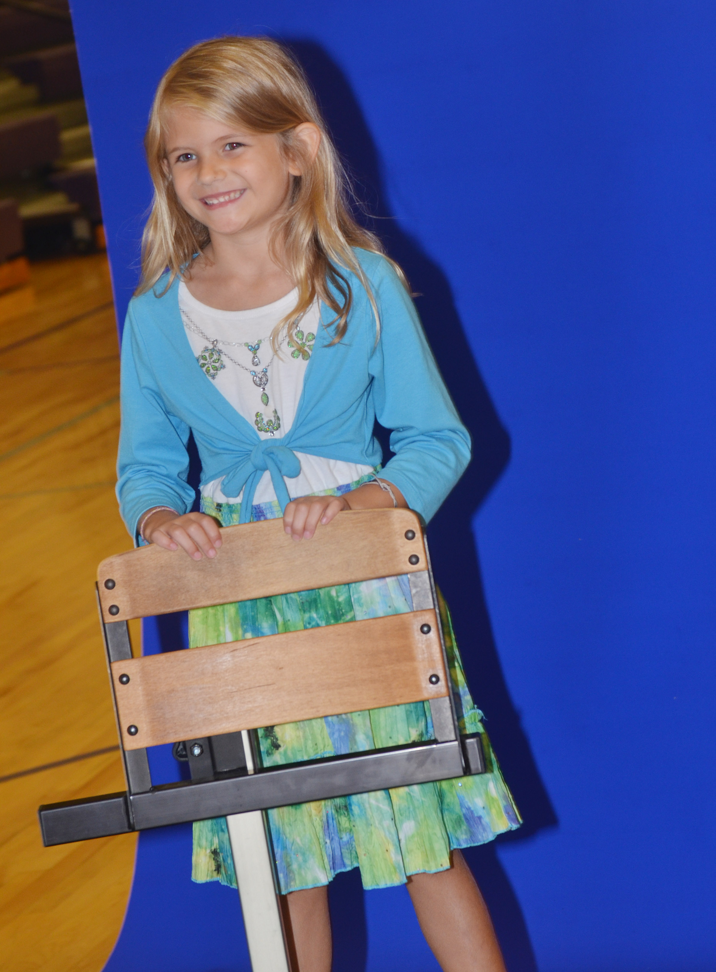 CES first-grader Gracie Gebler smiles for the camera.