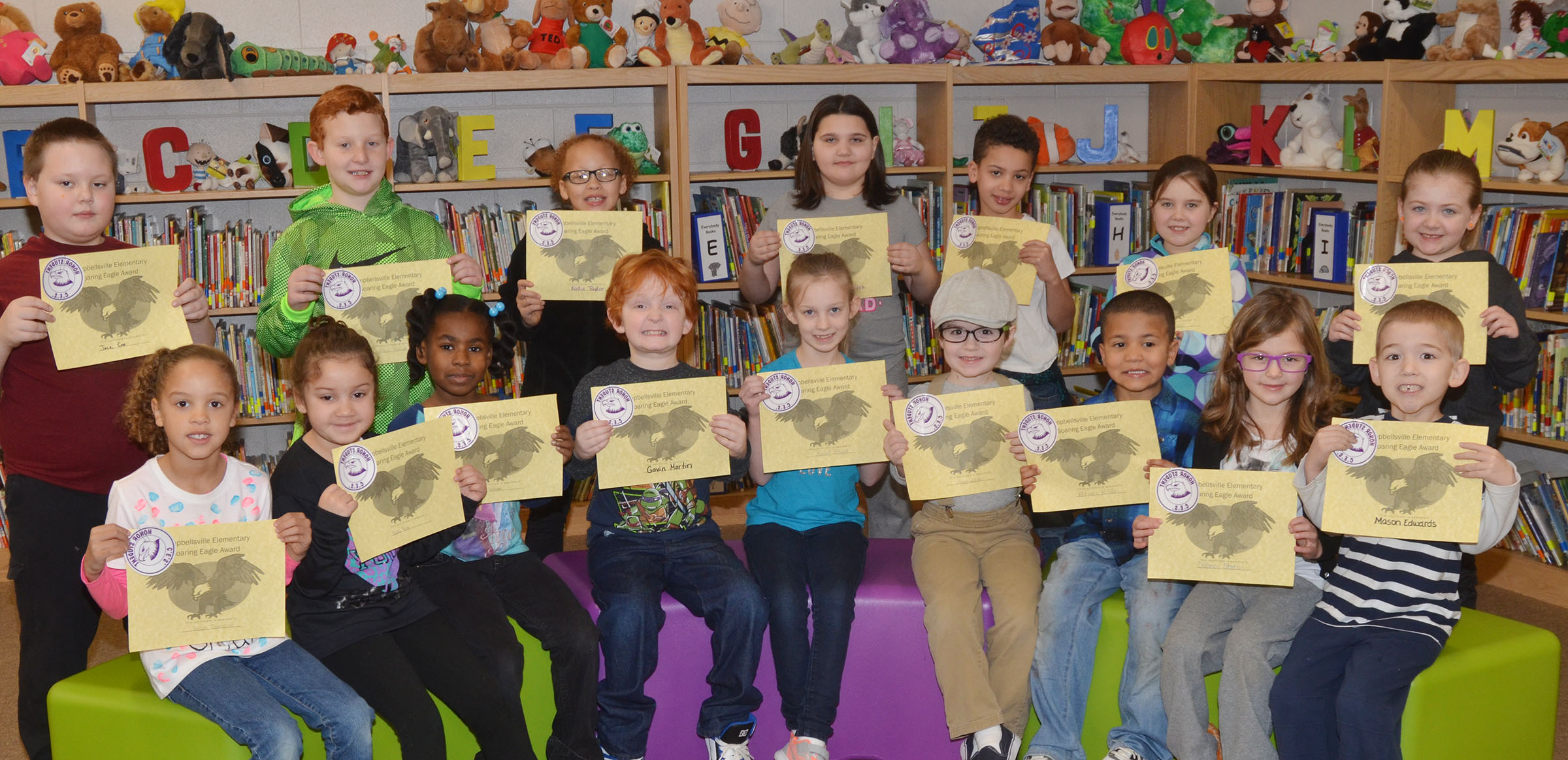 From left, front, are first-graders Keiava Thompson, Nadia Taylor and Destini Gholston, second-grader Gavin Martin, third-grader Kendall Bright and kindergarteners Gavin Williams, Ahryan Wilson, Delaney Staton and Mason Edwards. Back, third-grader Jace Cox, second-graders Reece Swafford and Kallie Taylor, third-grader Kailei Hernandez, first-grader Bryant Mayo, third-grader Maylee Wilds and first-grader Frehley Whitlow. Second-grader Analeigh Foster isn't pictured.
