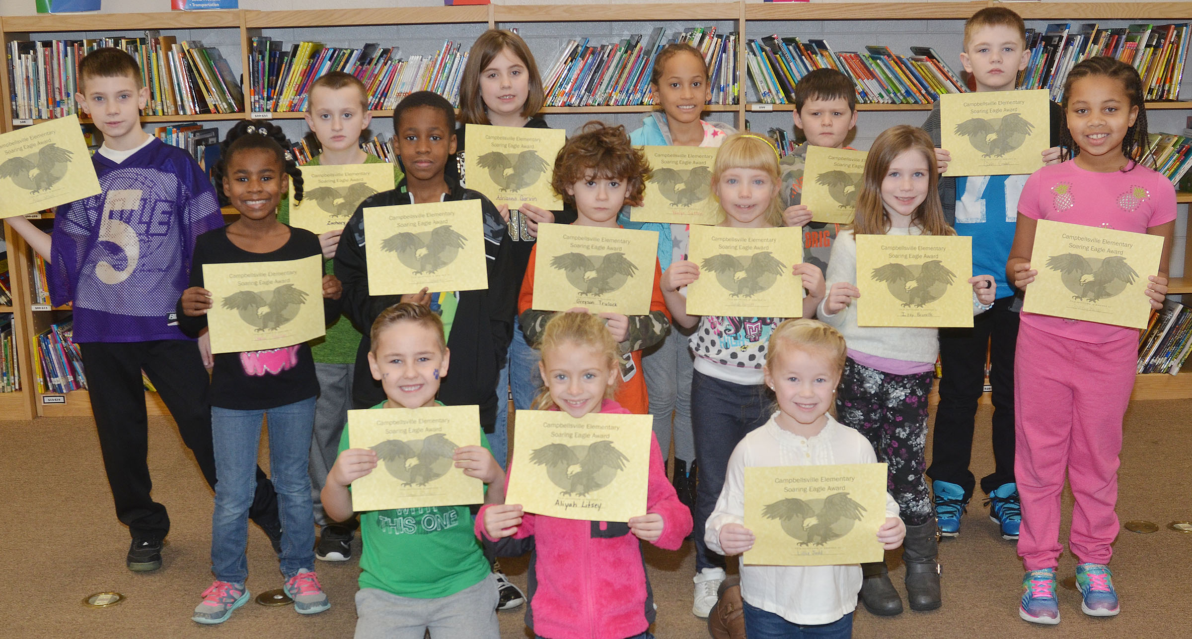 From left, front, are kindergarteners Braxton Rhodes, Aliyah Litsey and Lillie Judd. Second row, first-grader Destini Gholston, third-grader John Gholston, kindergartener Greyson Trulock and first-graders Sarah Parrott, Izzy Brunelle and Journey Webb. Back, second-graders Aidan Wilson and Zachary Cox, third-grader Adrianna Garvin, second-graders Yazlyn Sutton and Weston Veltman and third-grader Cash Cowan. Third-grader Raelyn Dunn isn't pictured.