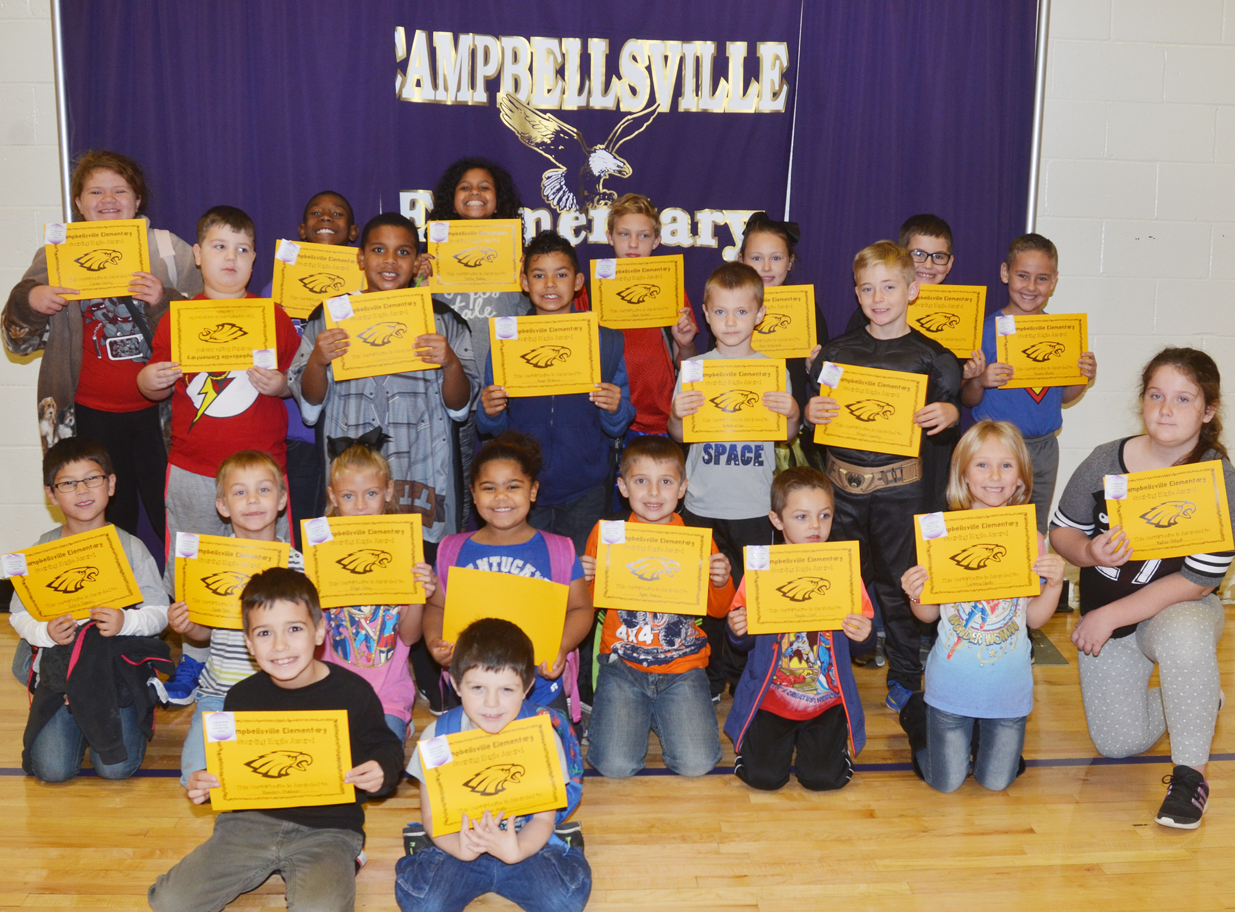 From left, front, are second-grader Brenden Chastain and kindergartener Michael Priddy. Second row, kindergartener Victrin Ramsey, second-grader Hunter Bates, first-grader Aliyah Litsey, kindergartener Linnly Adams, first-grader Ayden Andrew, kindergartener Hayden Goff, first-grader LeeAnna Garvin and fourth-grader Madison Philpott. Third row, second-grader Luke Mardis, third-grader Zaemar Hoskins, second-grader Rizzo McKenzie, kindergartener Nicholas Wilson and fourth-grader Braydn Spurling. Back, fifth-grader Carmen Gurley, third-grader Jaron Johnson, fifth-graders Destiny Bradley and Jacob Graham, third-graders River McFarland and Tye Rhodes and first-grader Braxton Rhodes.
