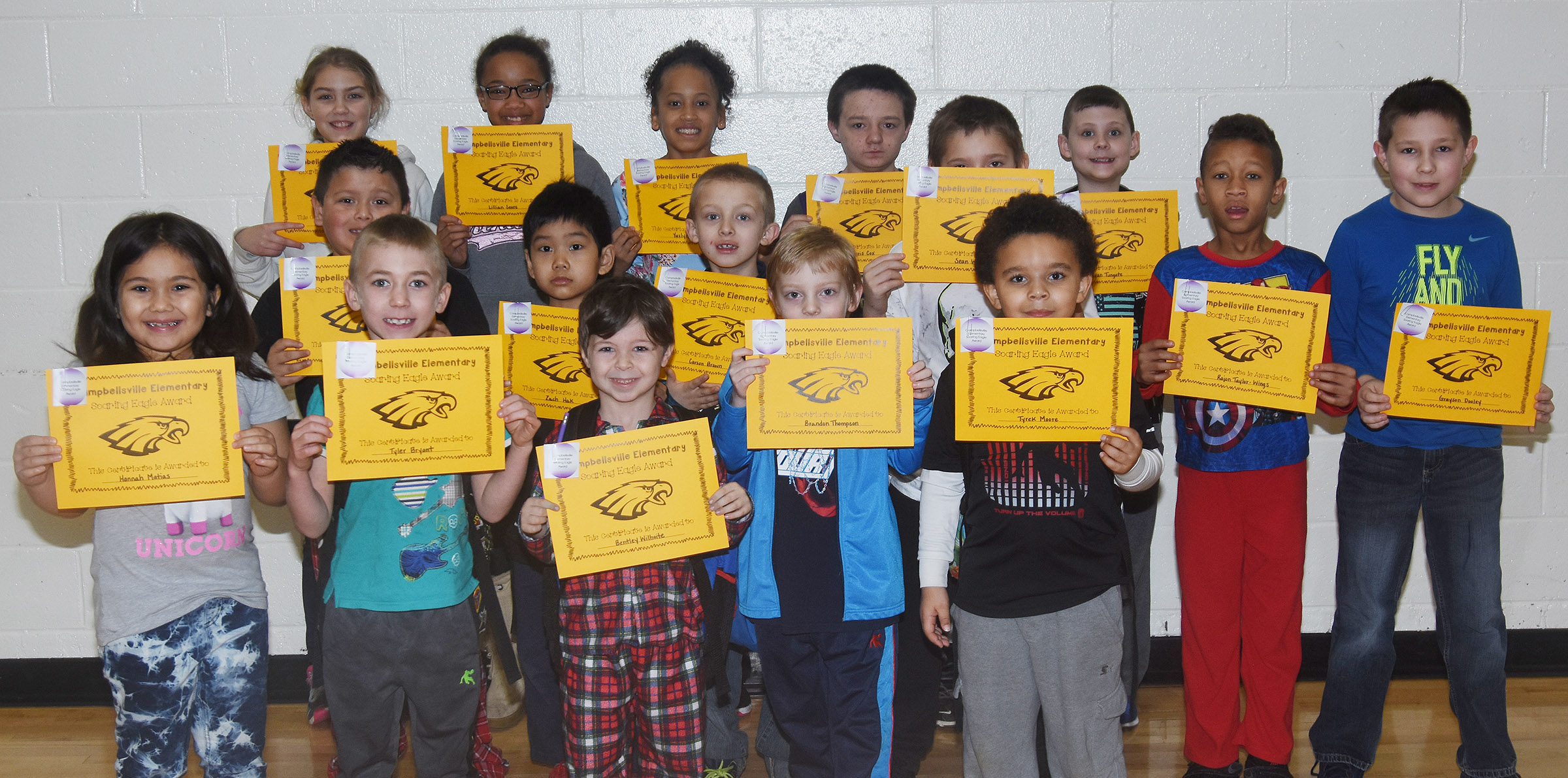 From left, front, are first-graders Hannah Matias and Tyler Bryant, kindergartener Bentley Wilhoite, second-grader Brandon Thompson and kindergartener Tyrek Moore. Second row, second-graders Alex Mixtega and Zach Hak, first-grader Carson Brown, third-graders Sean Welch and Rajon Taylor and fourth-grader Grayson Dooley. Back, fifth-graders Harley Couch-Allen and Lillian Sears, third-grader Yazlyn Sutton, fifth-grader Chris Cox and third-grader Ryan Tungate. Absent from the photo are first-grader Jaden Lutz, third-grader Kae'vin Spaulding and fourth-grader Narissa Barnett.