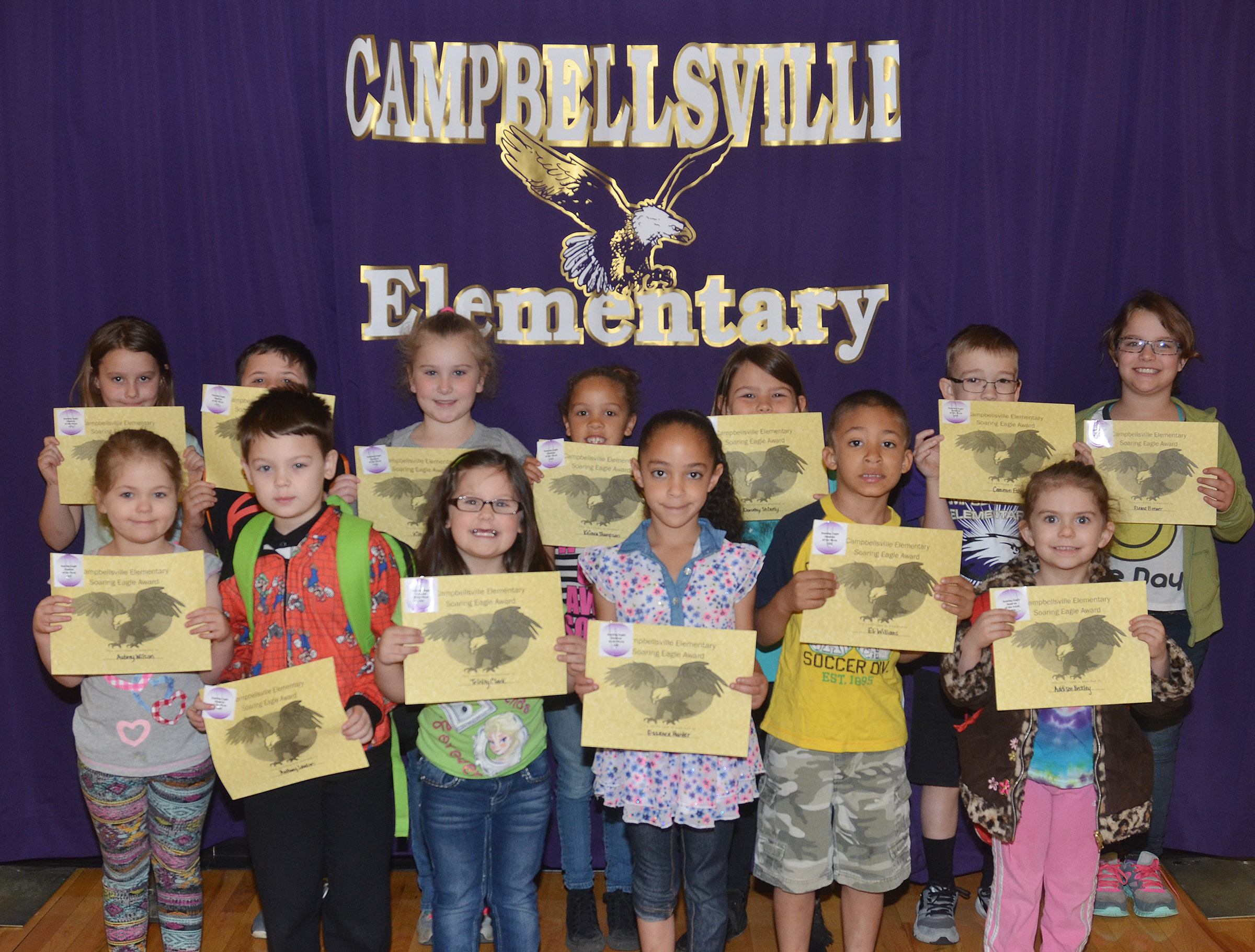 Campbellsville Elementary School recently named its Soaring Eagles for the week of March 27.