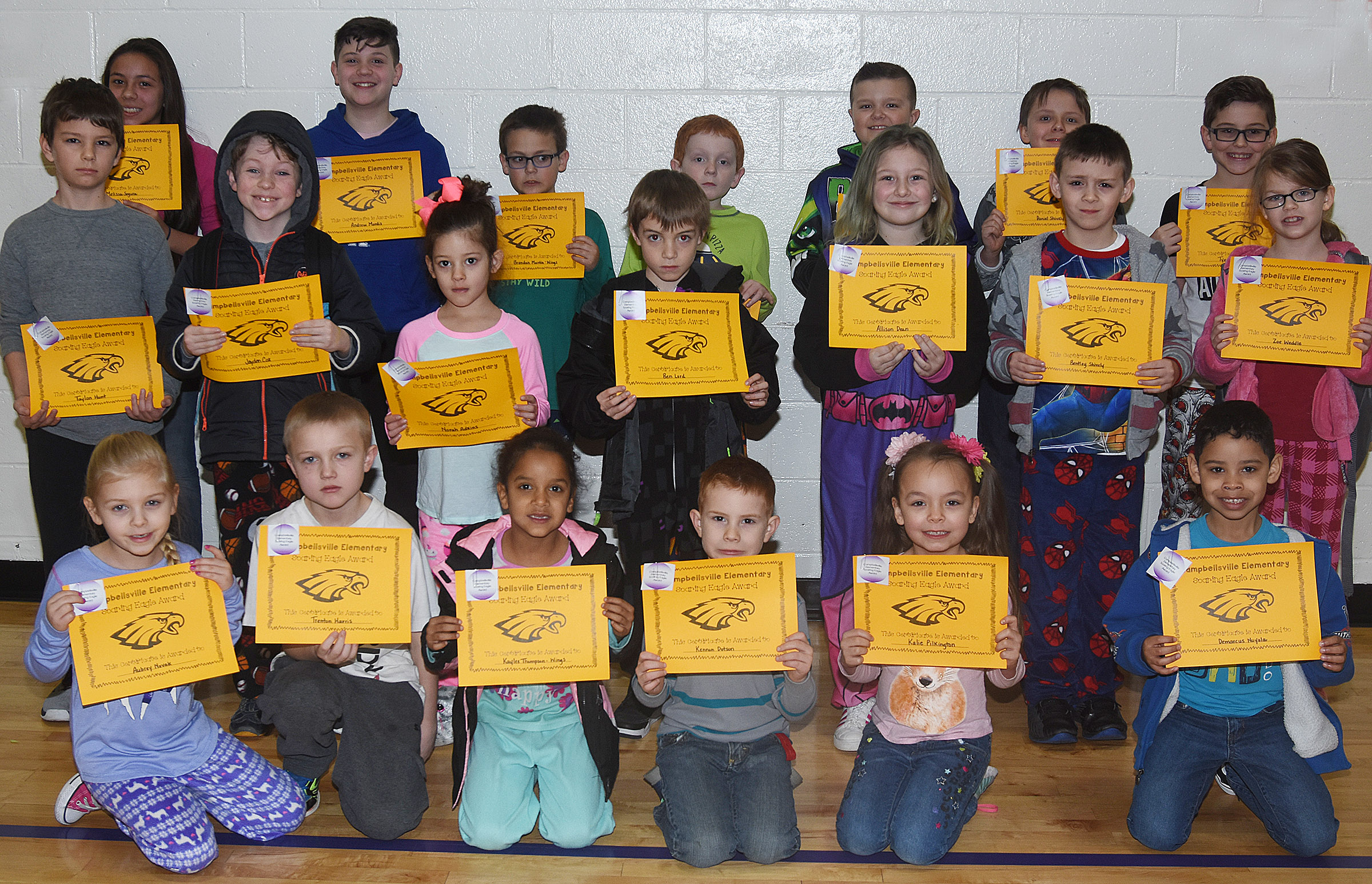 From left, front, are first-grader Aubrey Novak, third-grader Trenton Harris, first-grader Kaylee Thompson, kindergarteners Kennon Dotson and Kalie Pilkington and first-grader Demarcus Noyola. Second row, fifth-grader Taylan Hunt, second-grader Jayden Cox, kindergartener Norah Adkins, second-graders Ben Lord and Allison Dean and first-graders Bently Shively and Zoe Weddle. Back, fifth-graders Marissa Segura and Andrew Mardis, second-grader Brendan Martin, first-grader Gavin Martin, third-grader Cayton Lawhorn, fourth-grader Daniel Shively and third-grader Tye Rhodes. Absent from the photo is fourth-grader Kailei Hernandez.