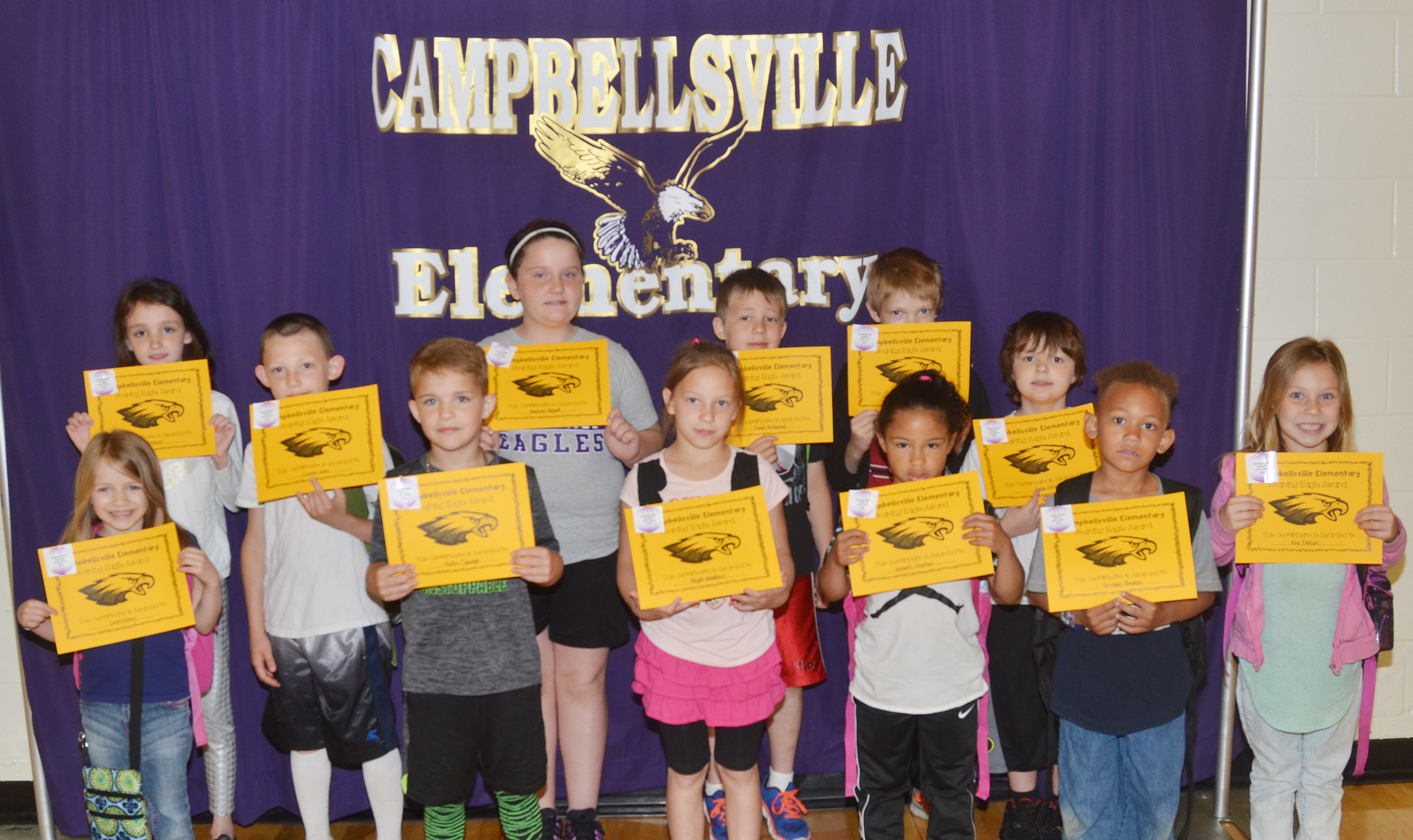 From left, front, are kindergartener Leah Covey, second-graders Kadin Coppage and Aliyah Meadows and kindergarteners Nevaeh Shofner, Treshaun Robinson and Kira Dotson. Back, third-graders Paige Ritchie, Cohutta Giles and Madison Philpott, second-grader David McFarland, third-grader Jon Releford and first-grader Caleb Ortiz. Absent from the photo are first-grader Kenady Hayes and second-grader Jazzlyn Cox.