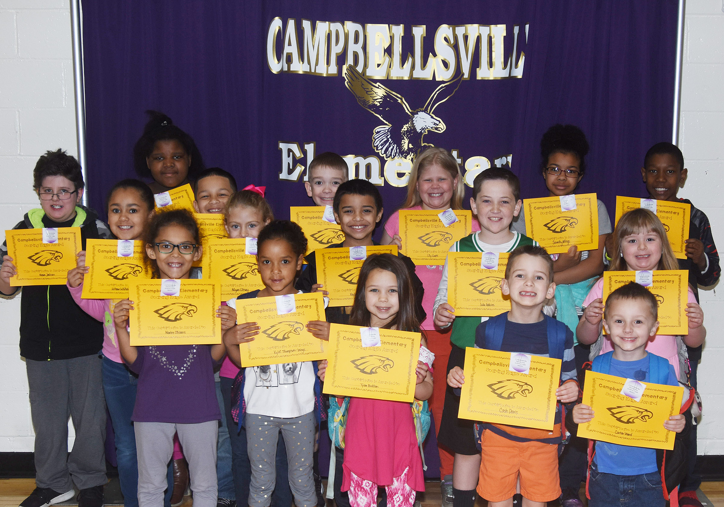 From left, front, are first-graders Marlee Dickens and Kylei Thompson and kindergarteners Tylee Britton, Cash Davis and Carter Ward. Second row, second-grader Keitona Whitehead, first-grader Aliyah Litsey, third-graders Keylan Strong and Luke Adkins and first-grader Briley Sapp. Back, third-grader Mason Jackson, fourth-grader Talaysia Daniels, second-grader Makyian Bridgewater, fourth-grader Cameron Estes, third-grader Lily Coots, fifth-grader Serenity Mings and third-grader Jaron Johnson.