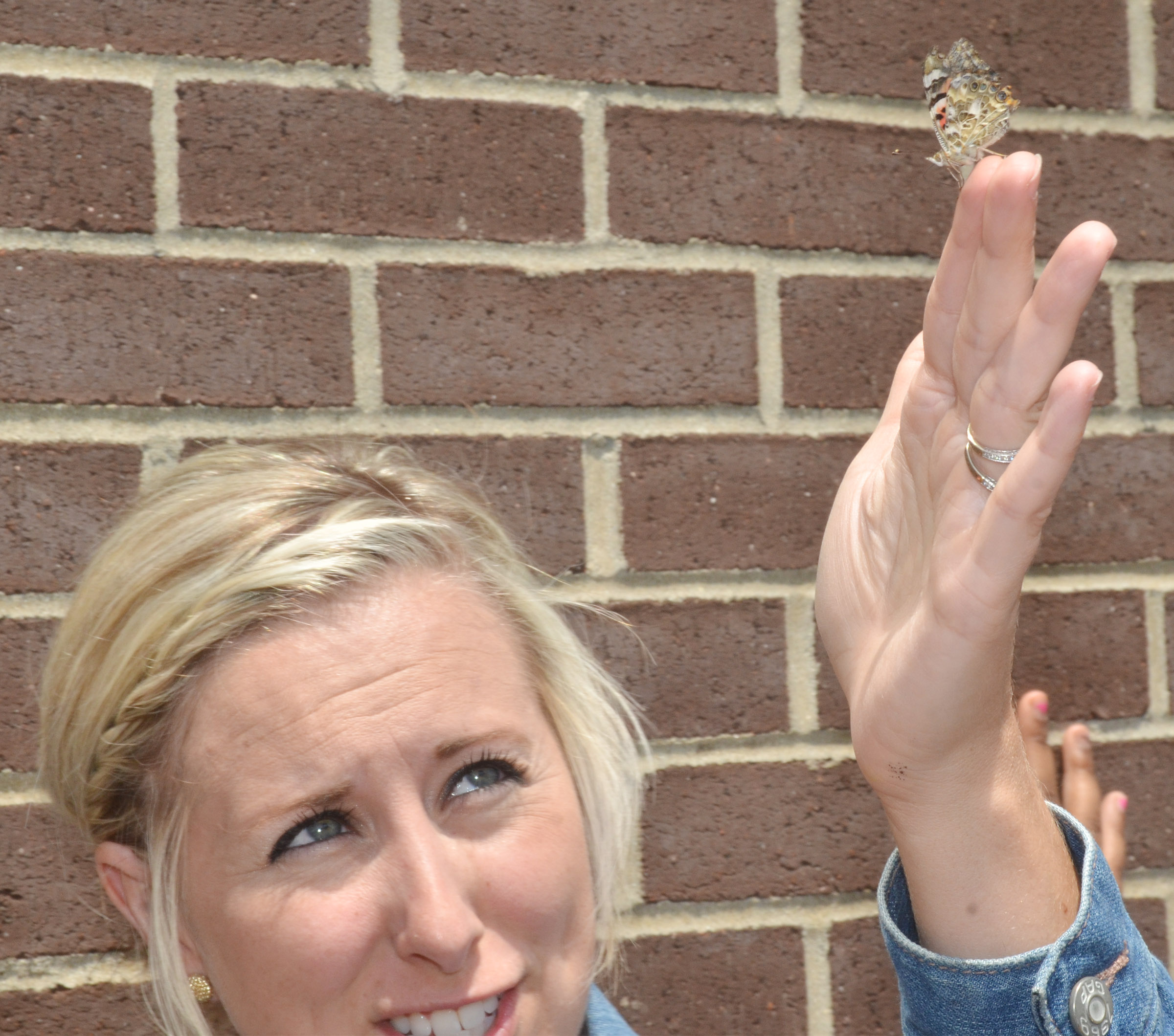 CES third-grade teacher Hannah Jones holds a butterfly as it prepares to fly away.