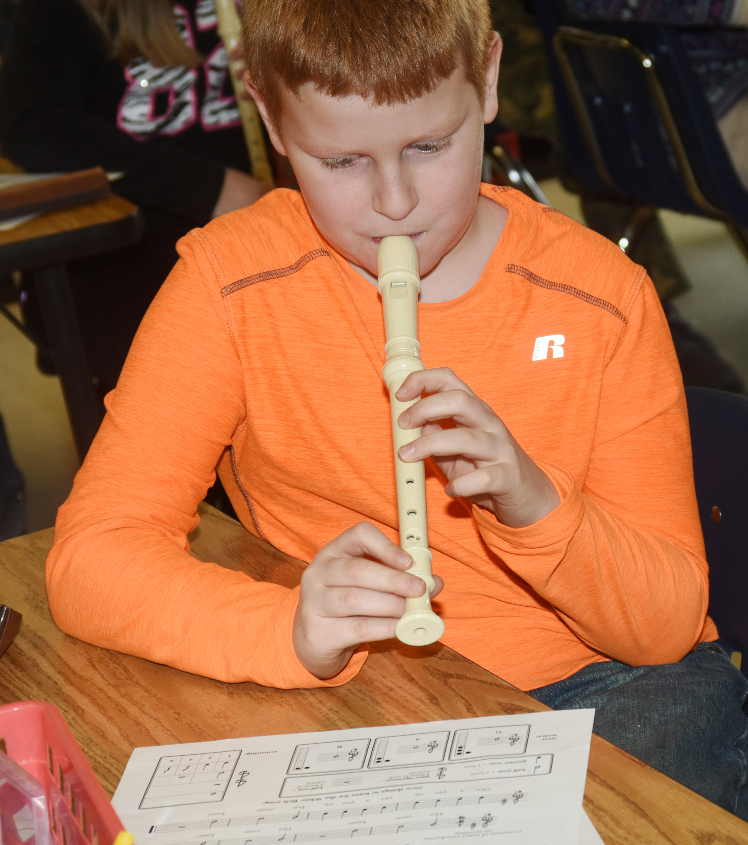 CES fourth-grader Westin Dudgeon plays the recorder.