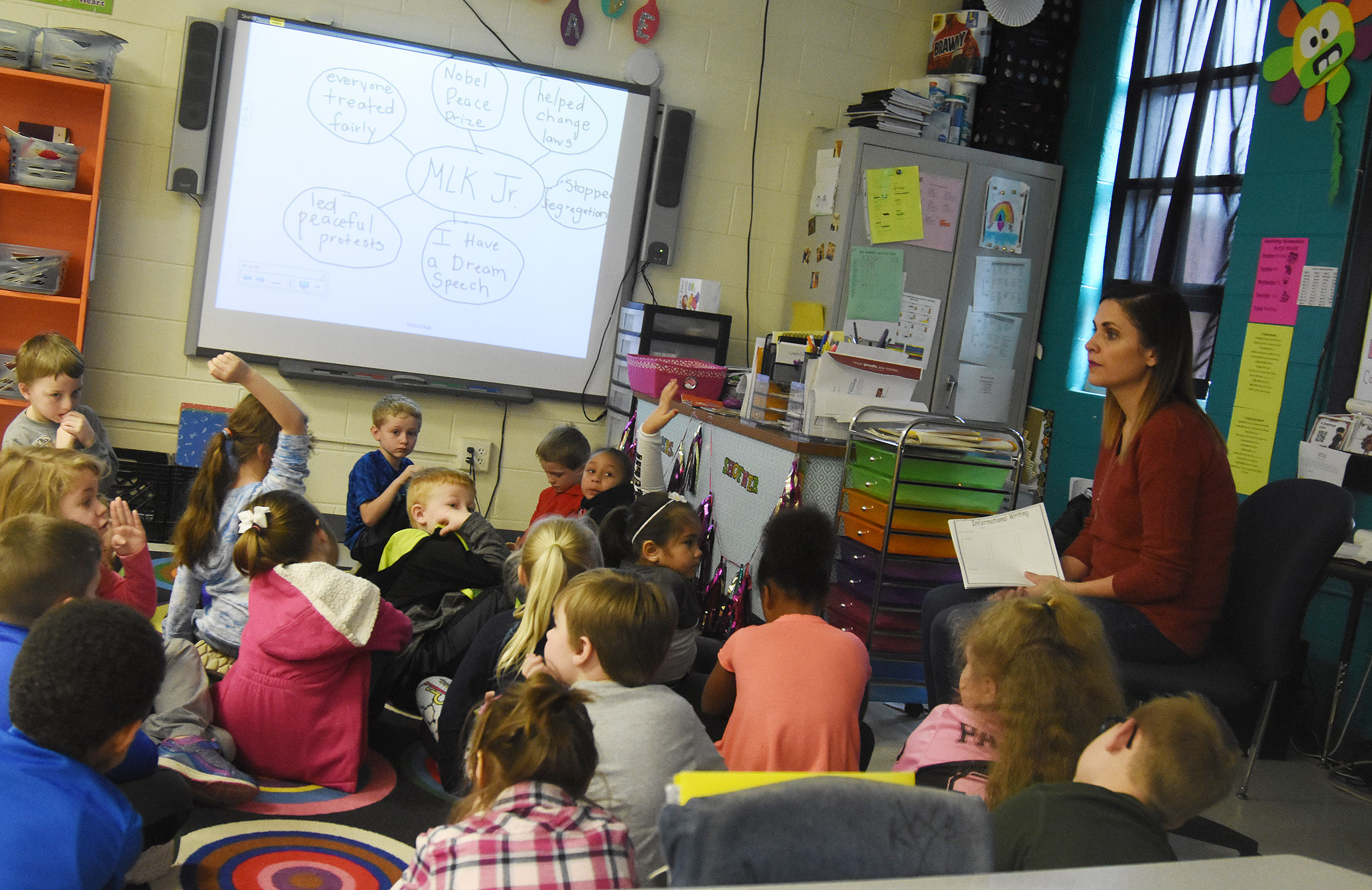 CES first-grade teacher Luci Shofner talks to her students about Dr. Martin Luther King Jr.'s legacy.
