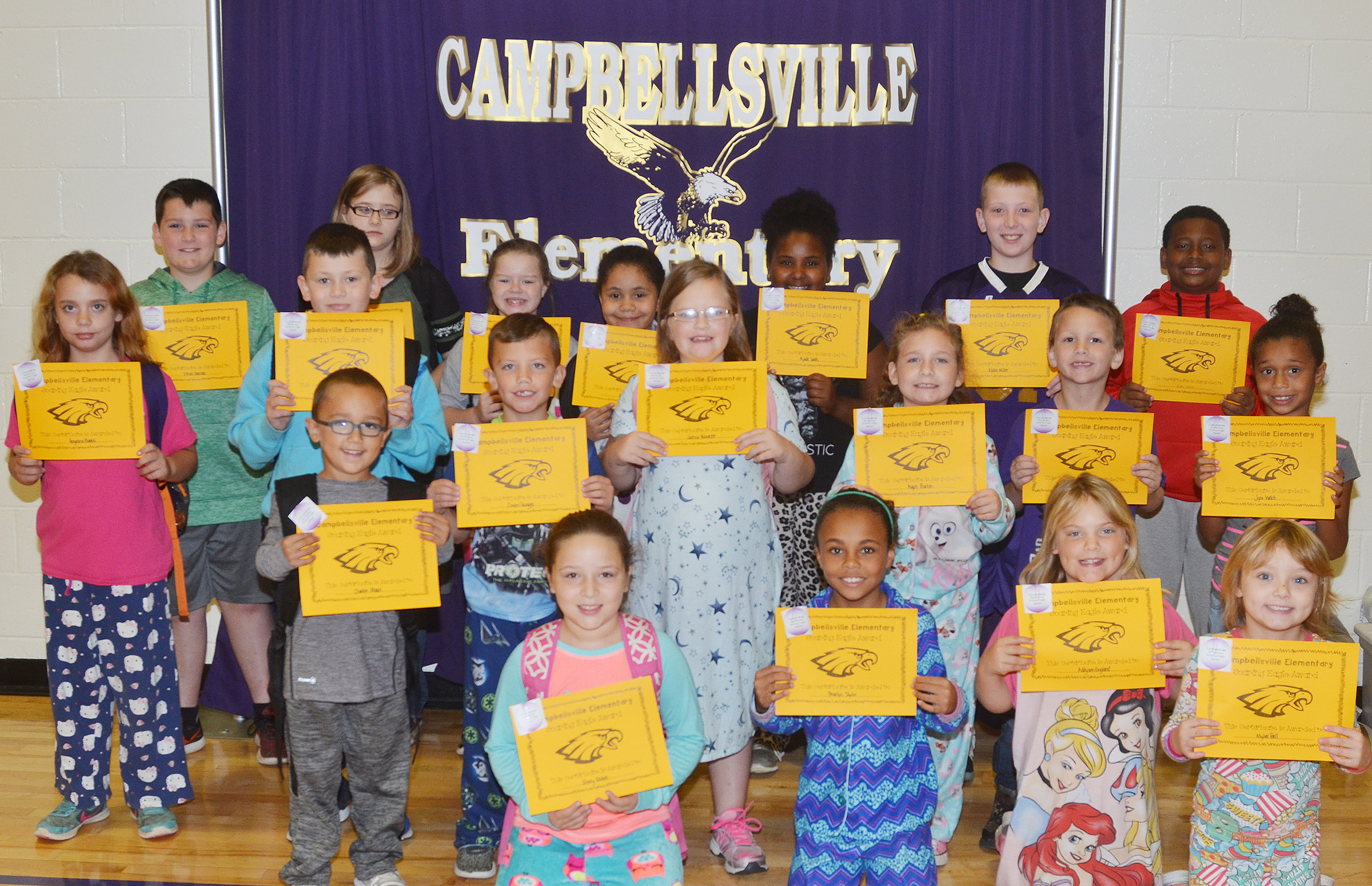 From left, front, are third-graders Keely Rakes and Braelyn Taylor and second-graders Addysen England and Mylee Bell. Second row, kindergartener Chanler Mann, second-graders Owen Skaggs and Justice Albrecht, fourth-grader Aliyah Burton and first-graders Justice Nelson and Jyra Welch. Third row, third-grader Angelina Babbs, fifth-graders Mason Fisher and Miley Hash, third-graders Alex Wilson and Ajada Smith and fifth-graders Kaleb Miller and KeKe Miller. Back, fourth-grader Ethan Garrison and fifth-grader Destiny Lane. Absent from the photo are kindergartener Payton Caldwell and first-grader Kylei Thompson.
