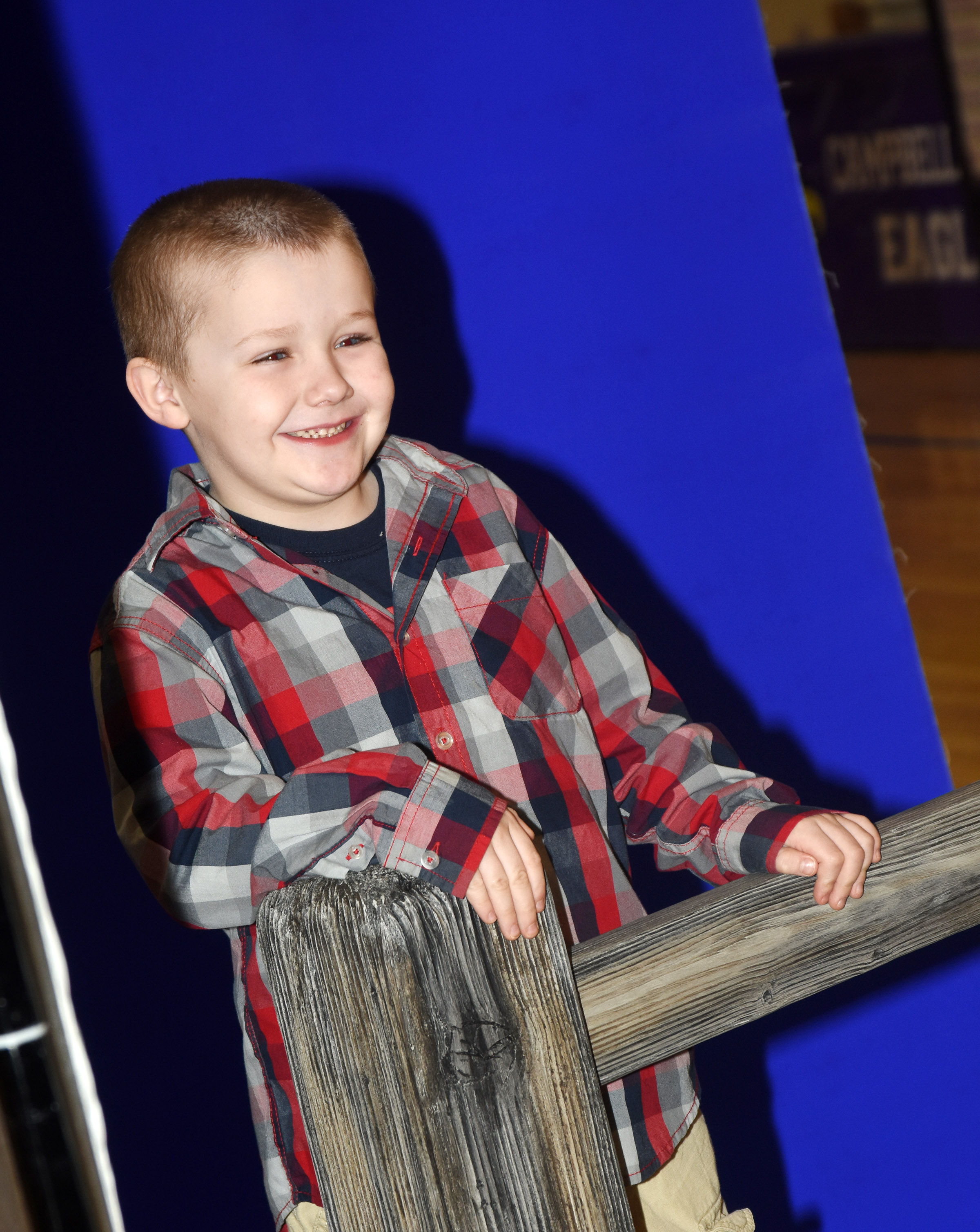 CES kindergartener Levi Dye takes a new school photo.