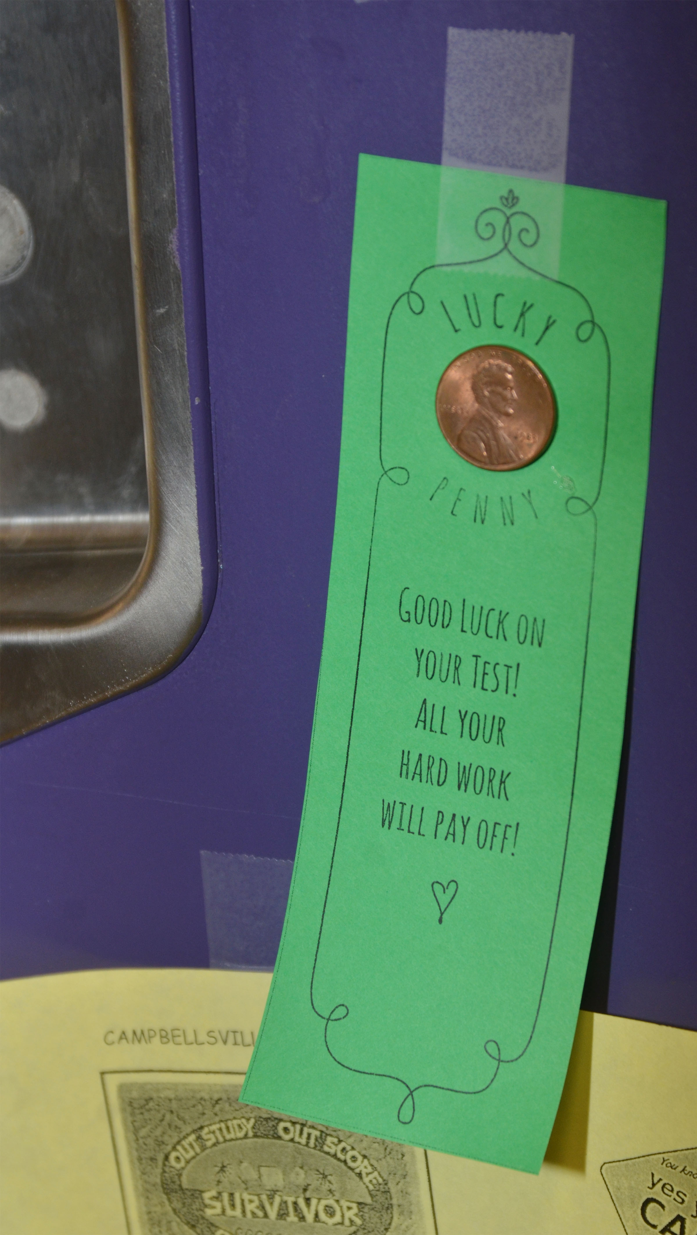 CES third-graders are receiving lucky pennies on their lockers to help them with testing this week.