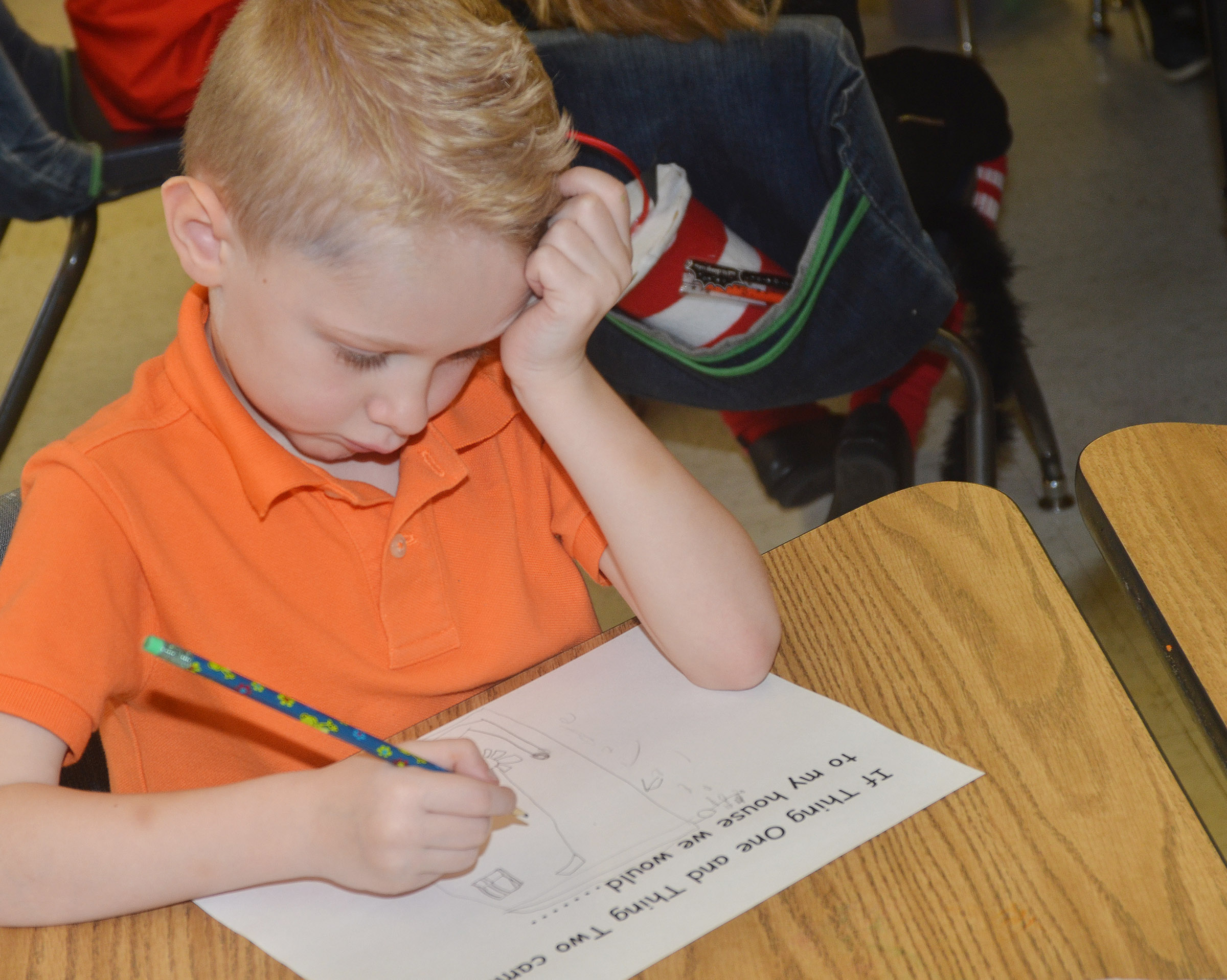 CES kindergartener Jackson Wright writes what he would do with Thing 1 and Thing 2.