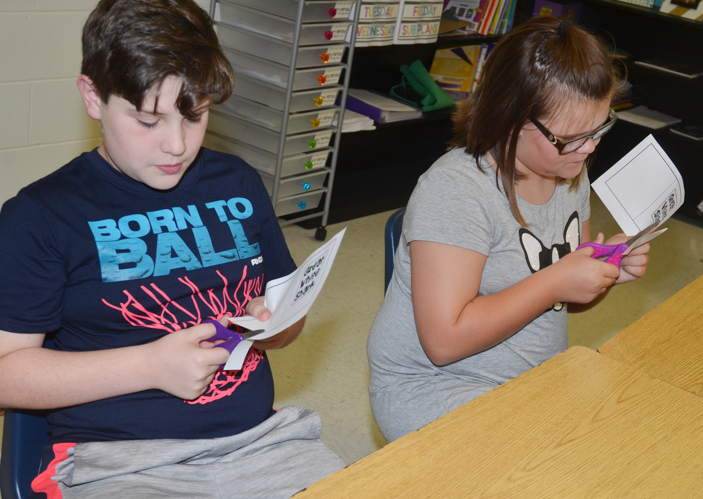 CES fifth-graders Andrew Mardis, at left, and Keeley Dicken cut out their mini-books.