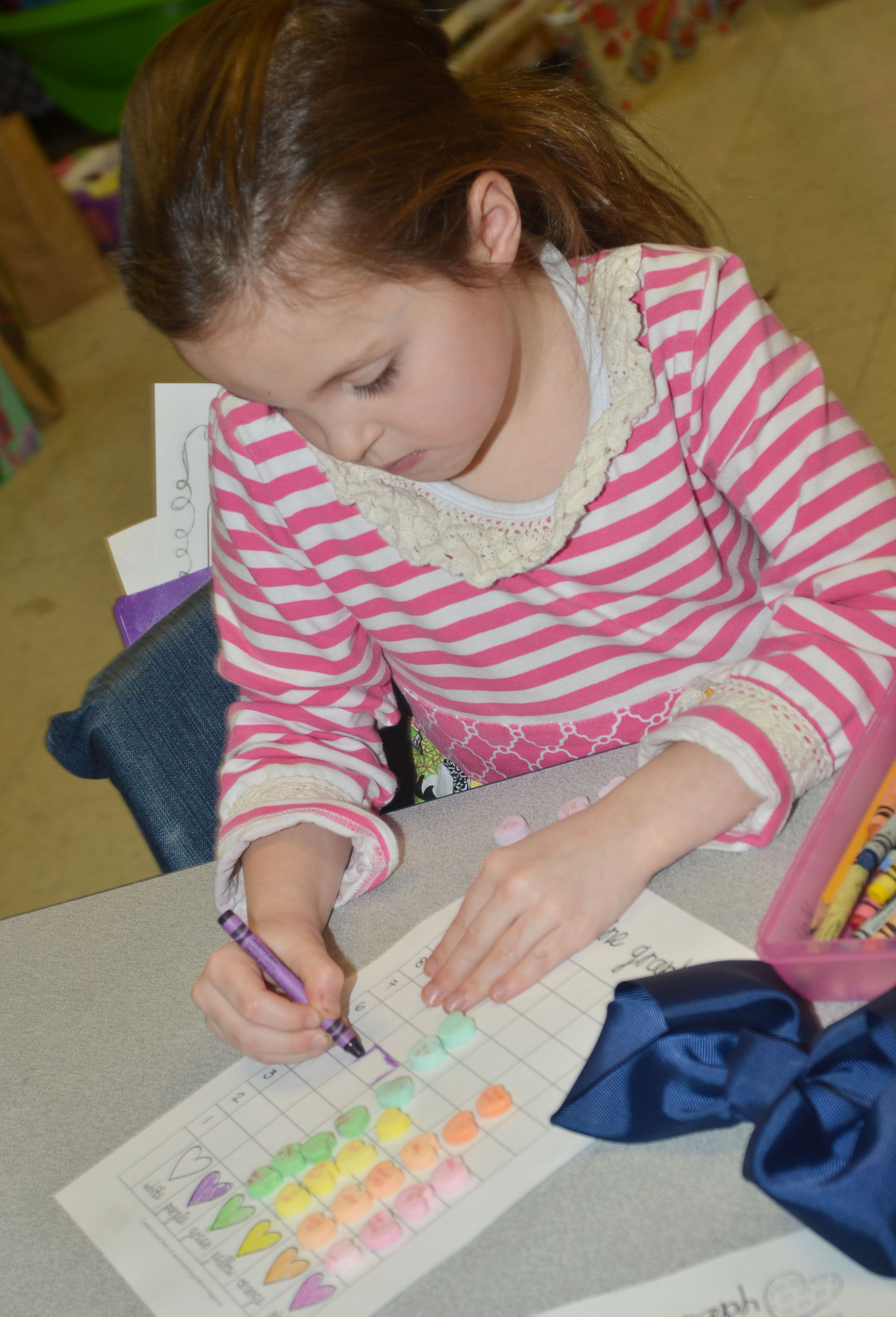 CES first-grader Molly Wolford colors her graph.