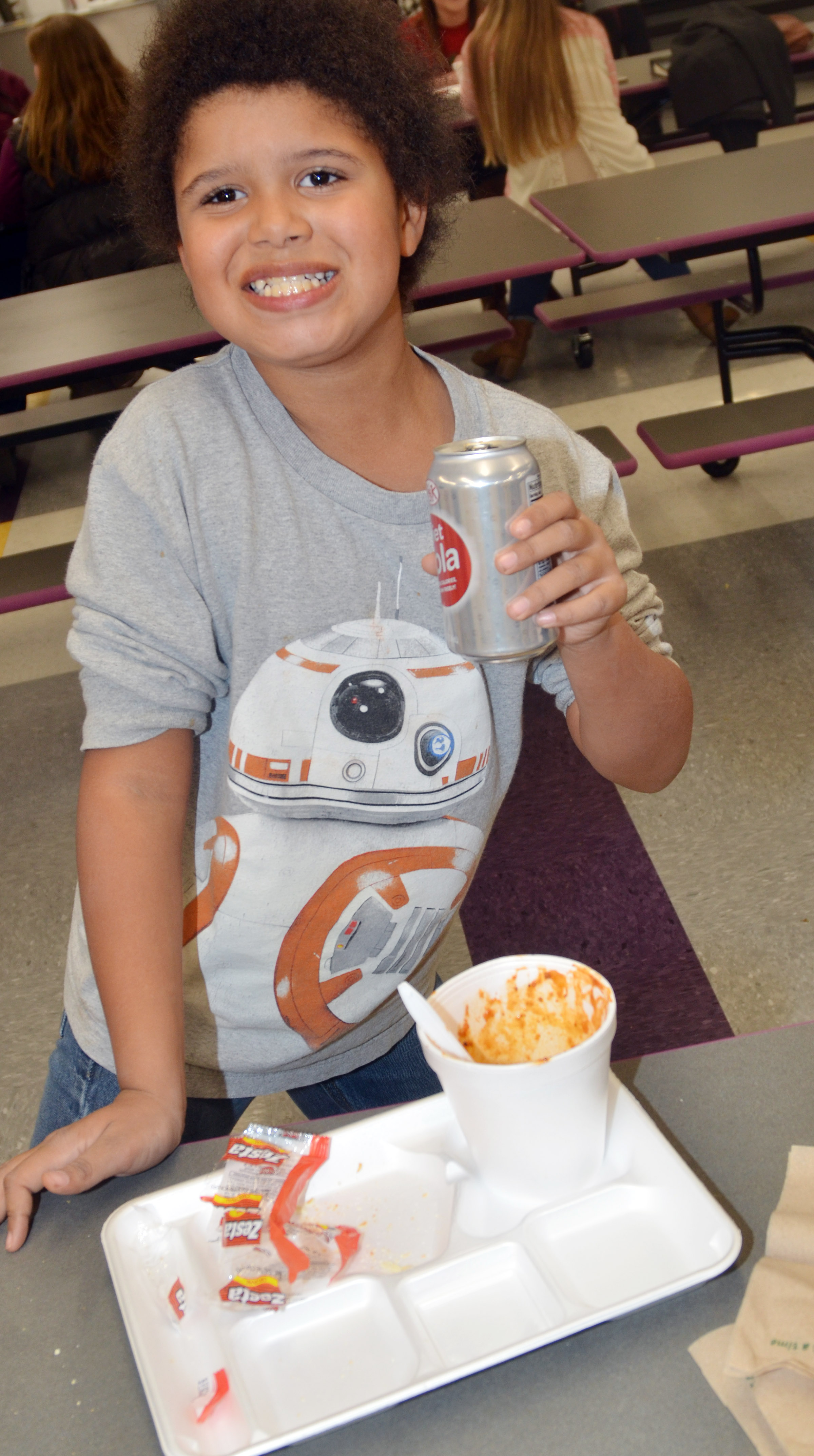 CES second-grader Navon Copeland enjoys his chili.
