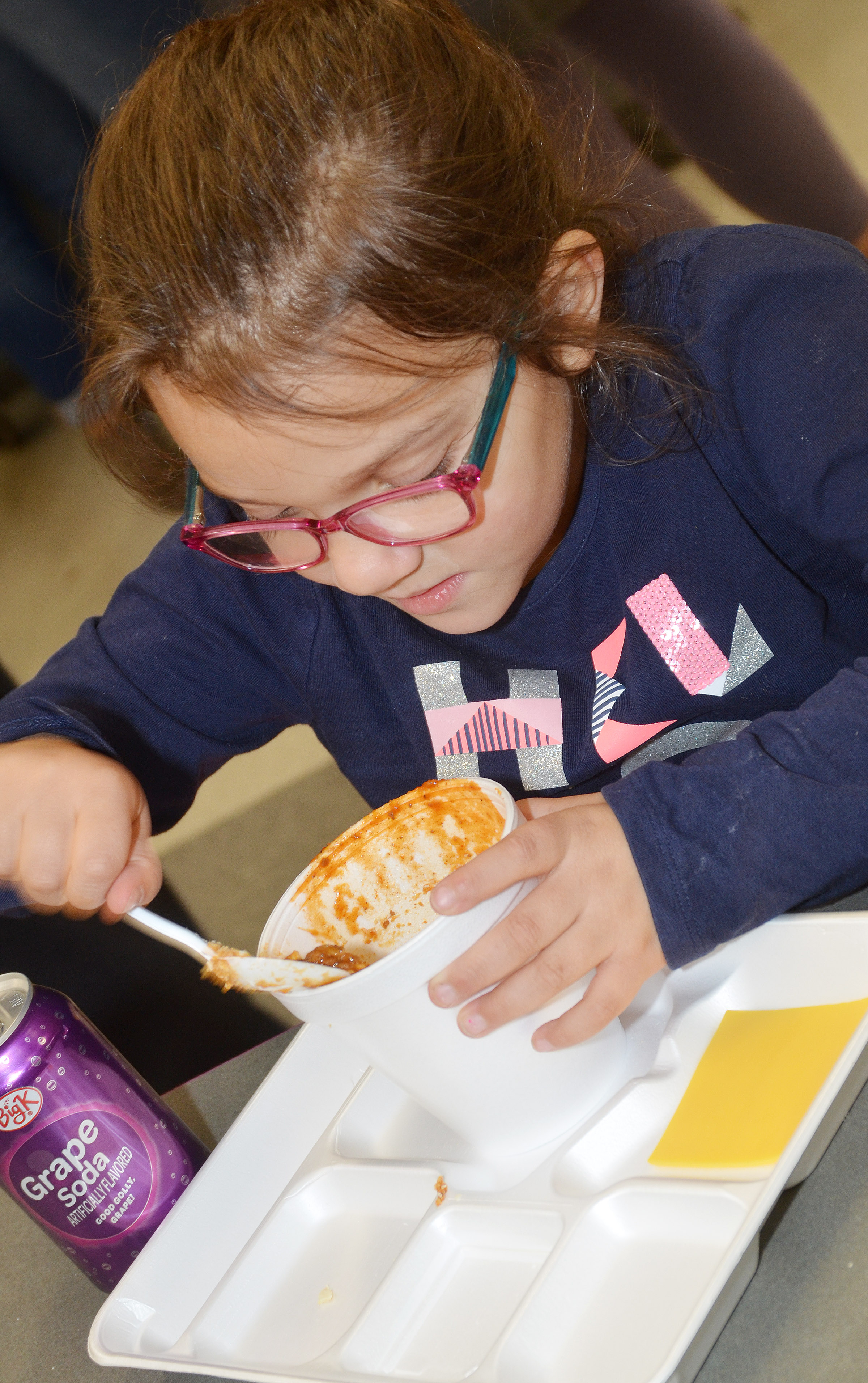 CES kindergartener Addisyn Taylor enjoys her chili.