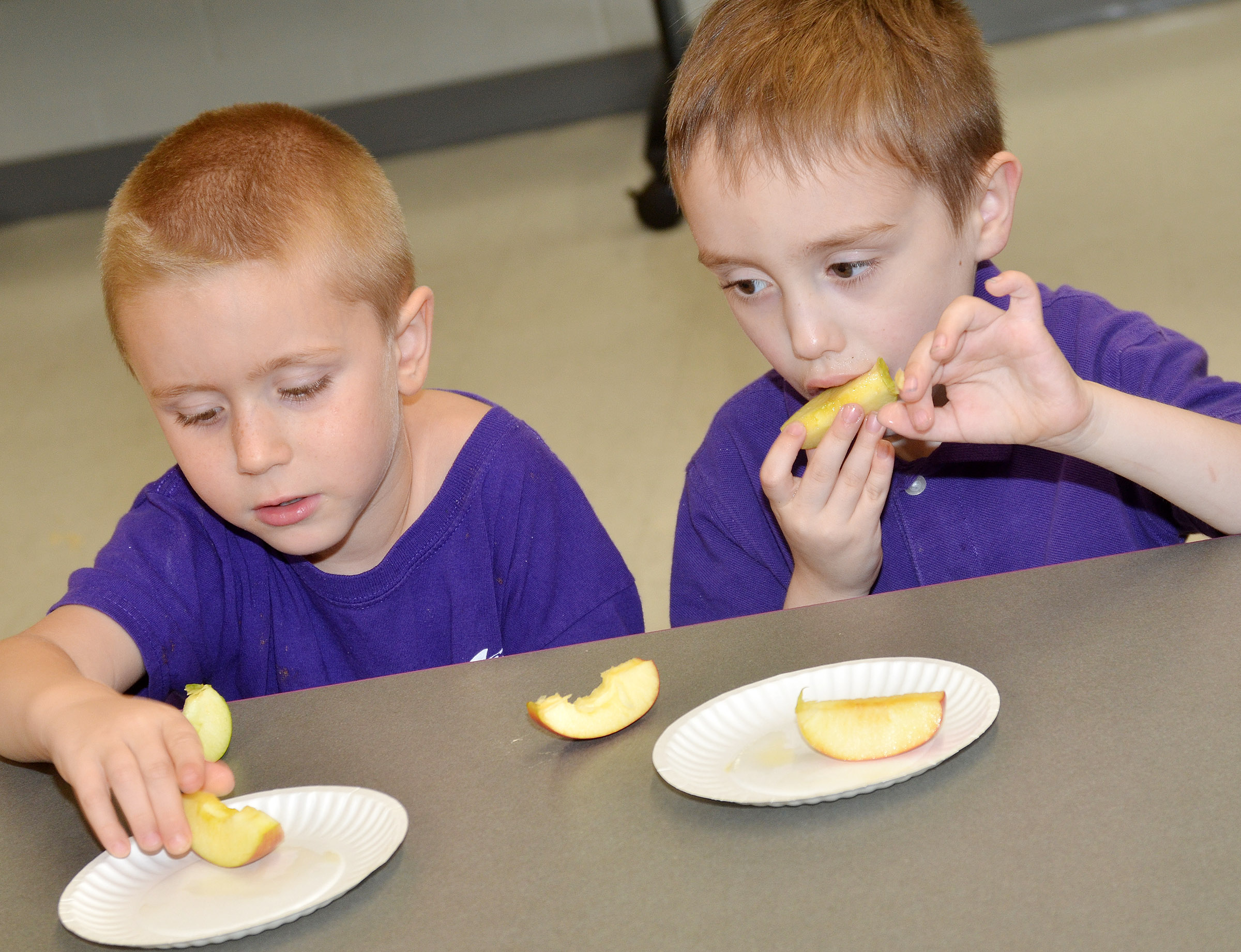 CES Wings Express kindergarten students Alex Newcomb, at left, and Joshua Dickens sample different types of apples.