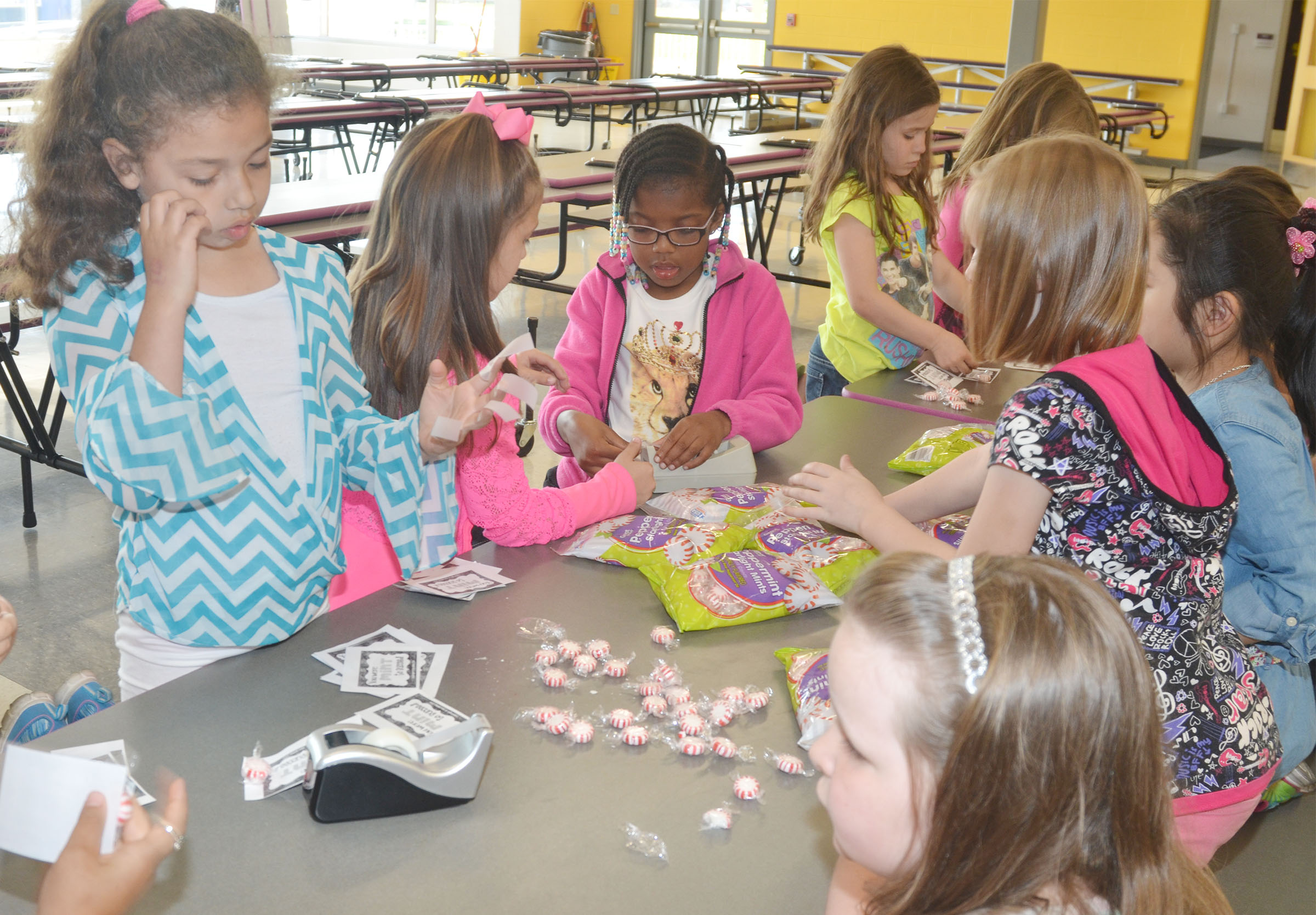 CES first-graders sort peppermints for third-graders.