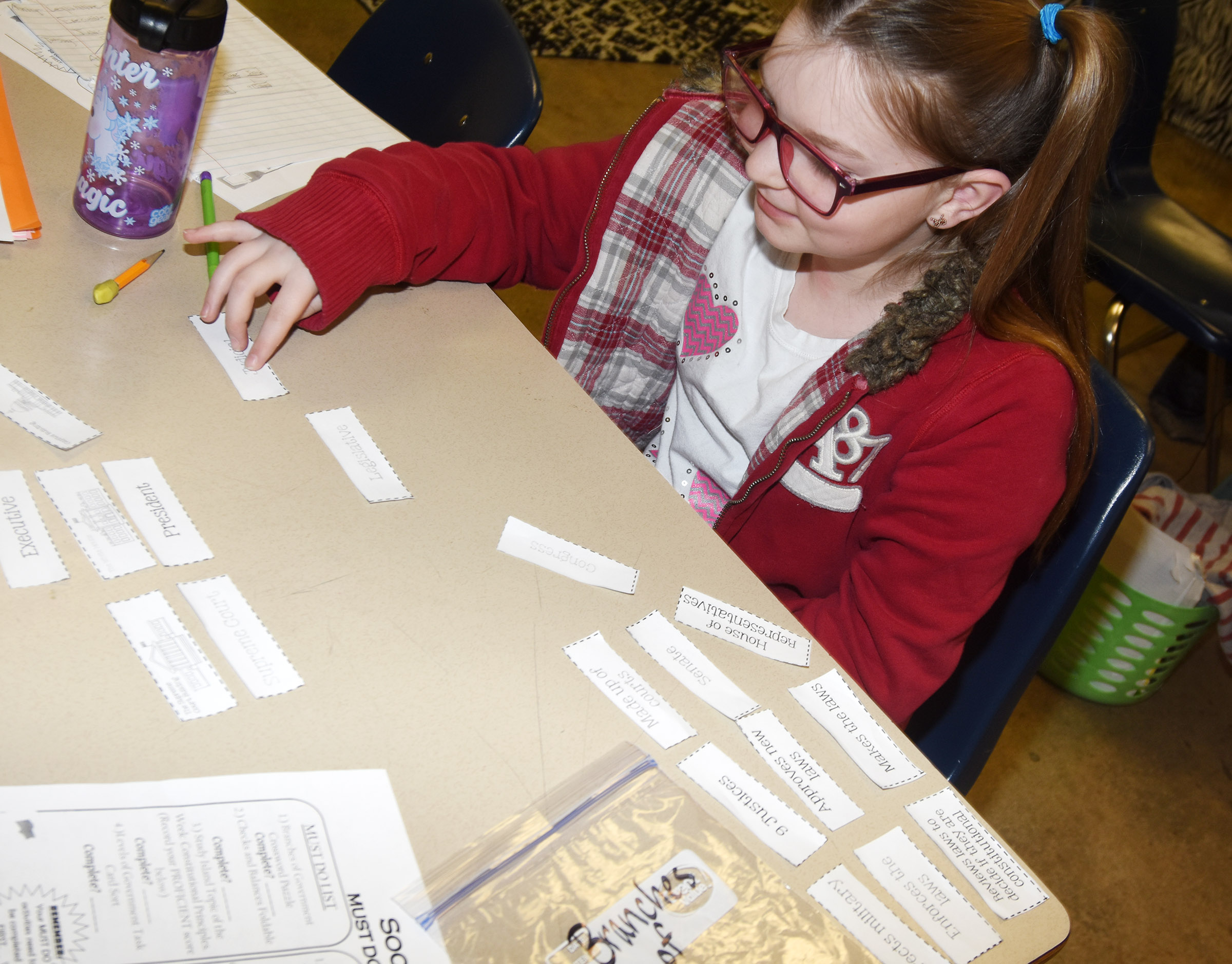 CES fifth-grader Morgan Spears plays a branches of government card sort game.