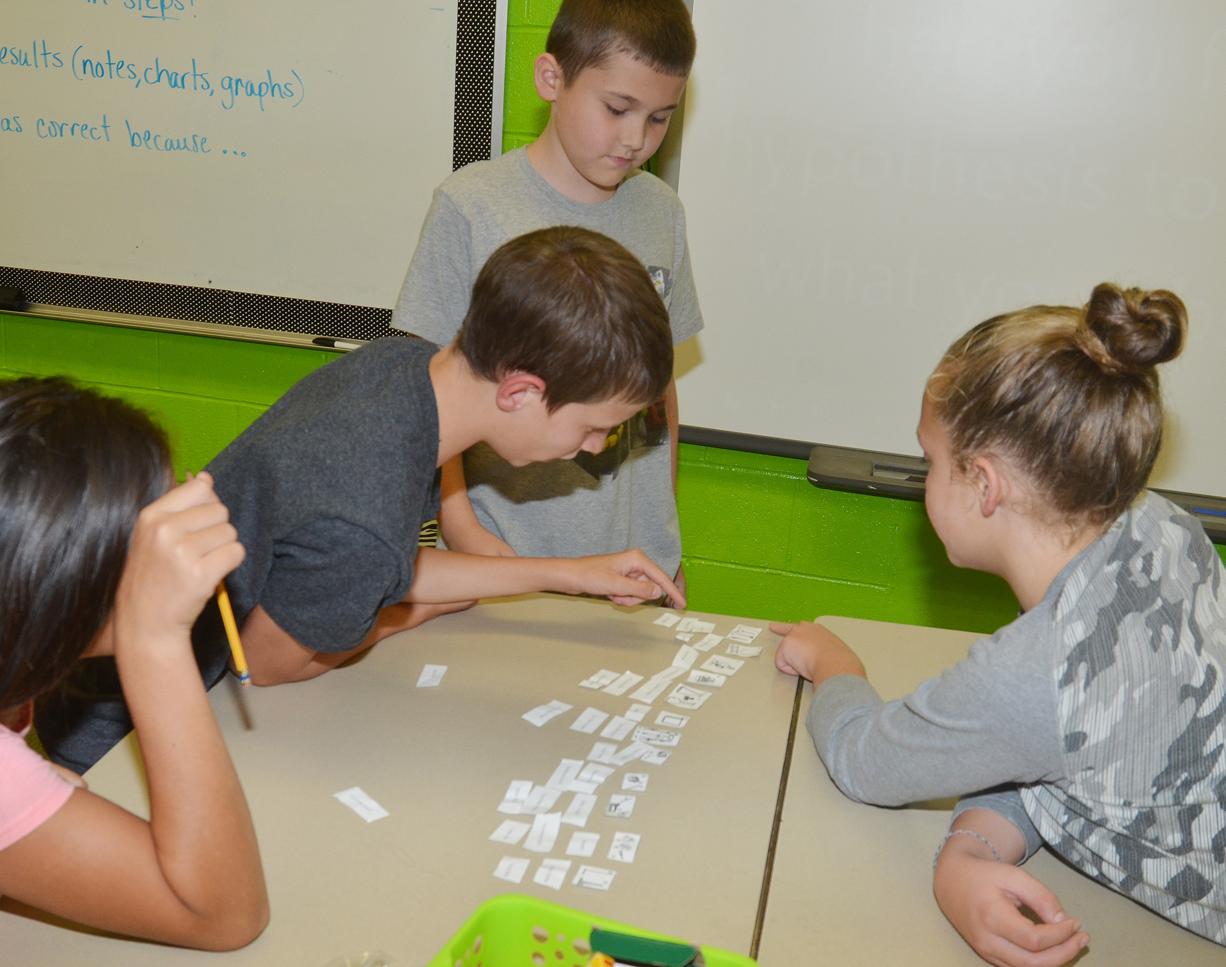 From left, CES fifth-graders Marissa Segura, Rowan Petett, Michael Abel and Deanna Reardon match their scientific terms with their pictures.