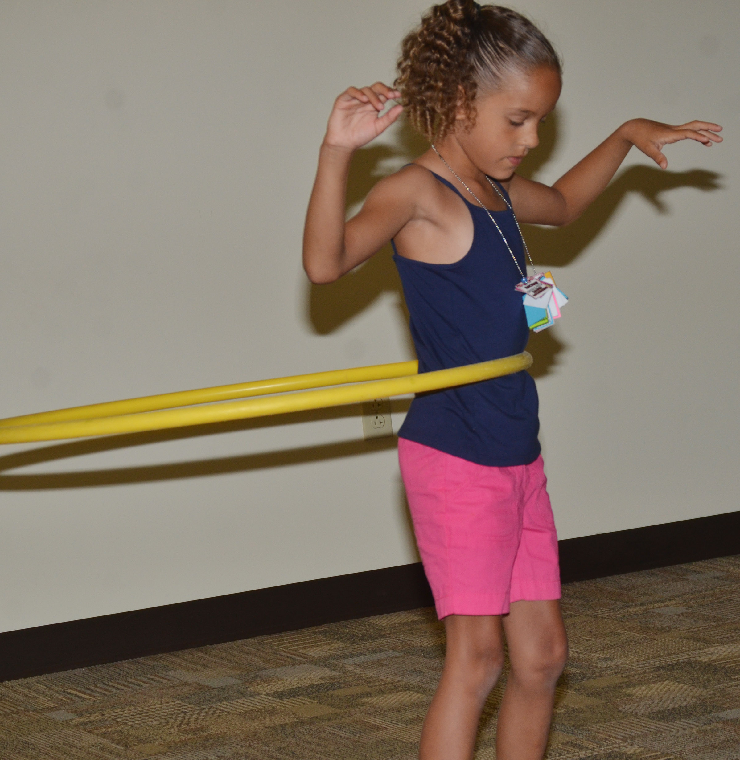 CES first-grader Keiava Thompson hula hoops.