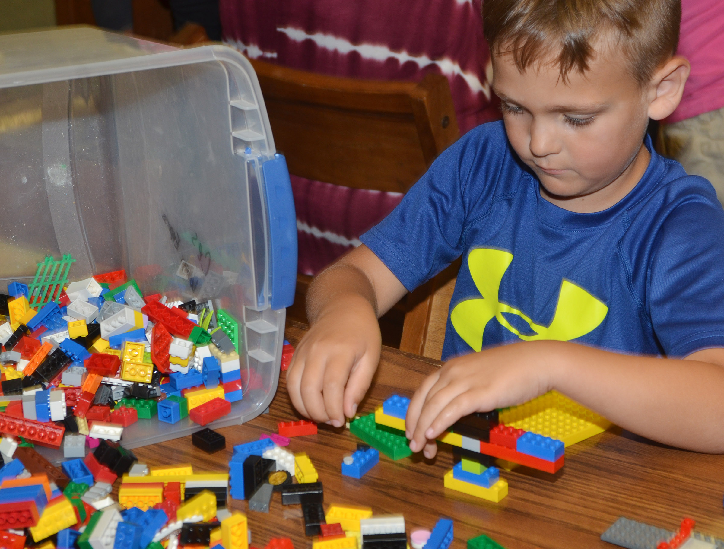 CES first-grader Brendan Martin builds with Legos.