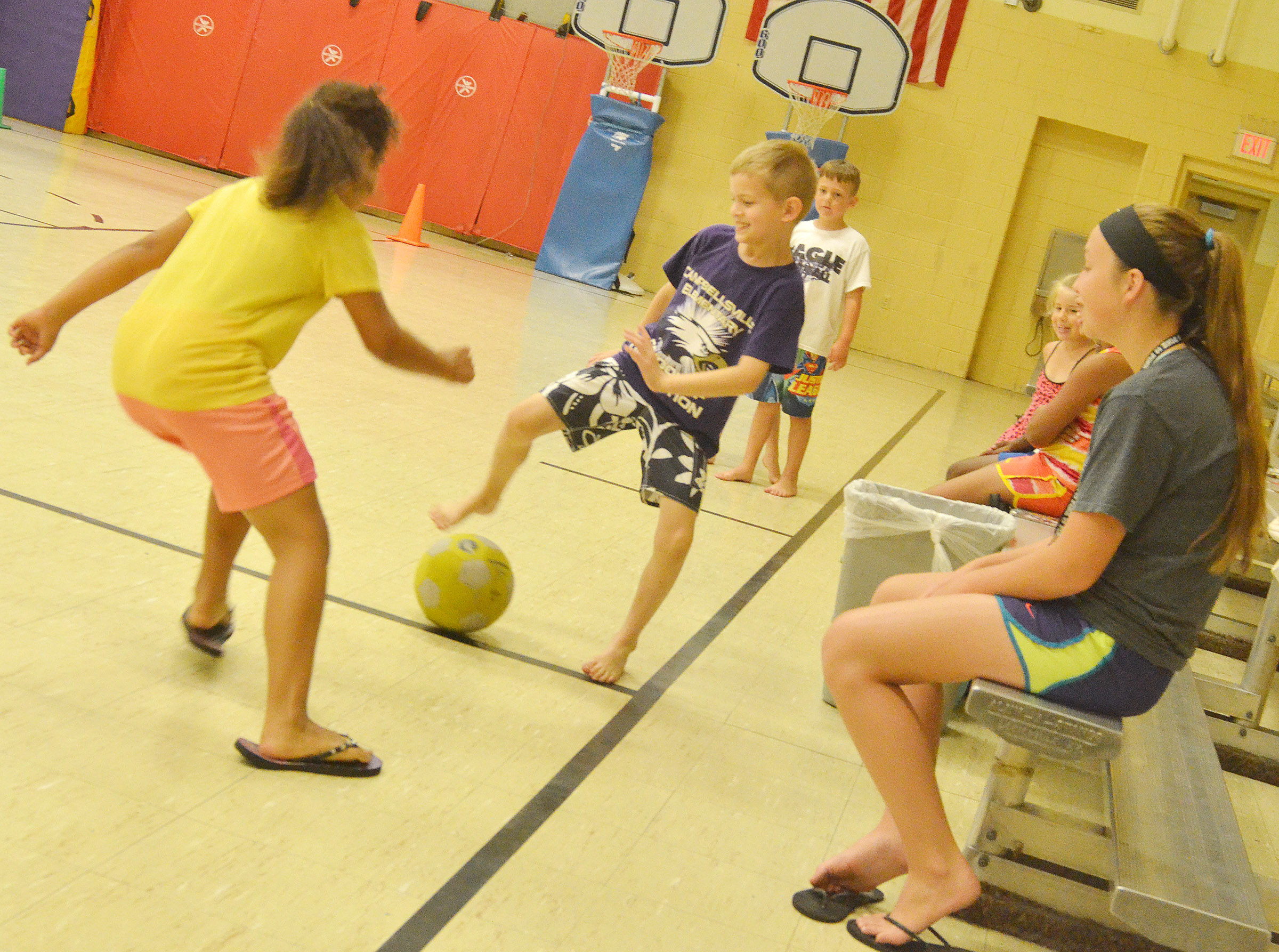 CES first-grader Logan Weddle plays soccer.