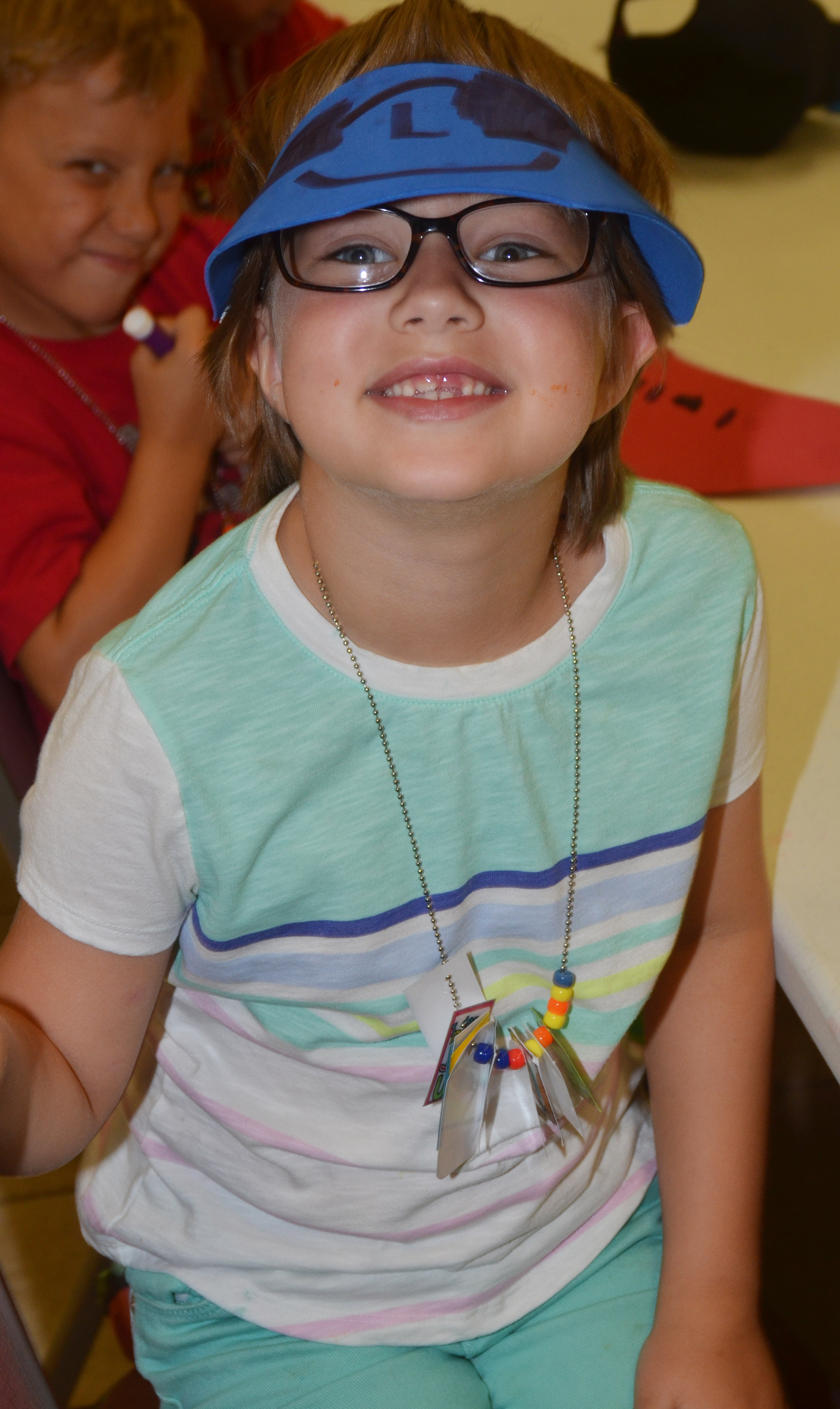 CES first-grader Addelyn Dooley models the hat she made.