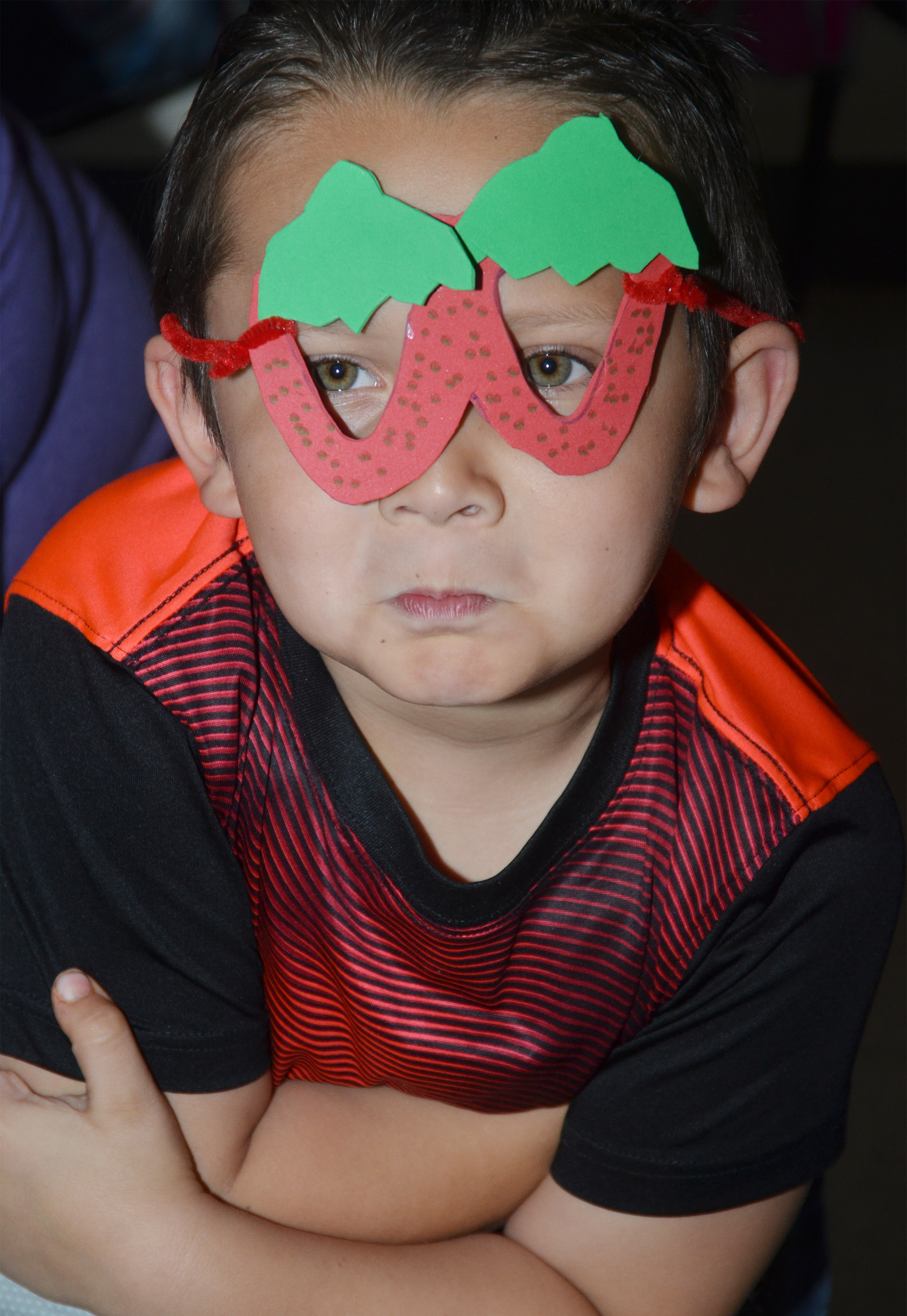 CES kindergartener Karter Young wears his strawberry glasses.